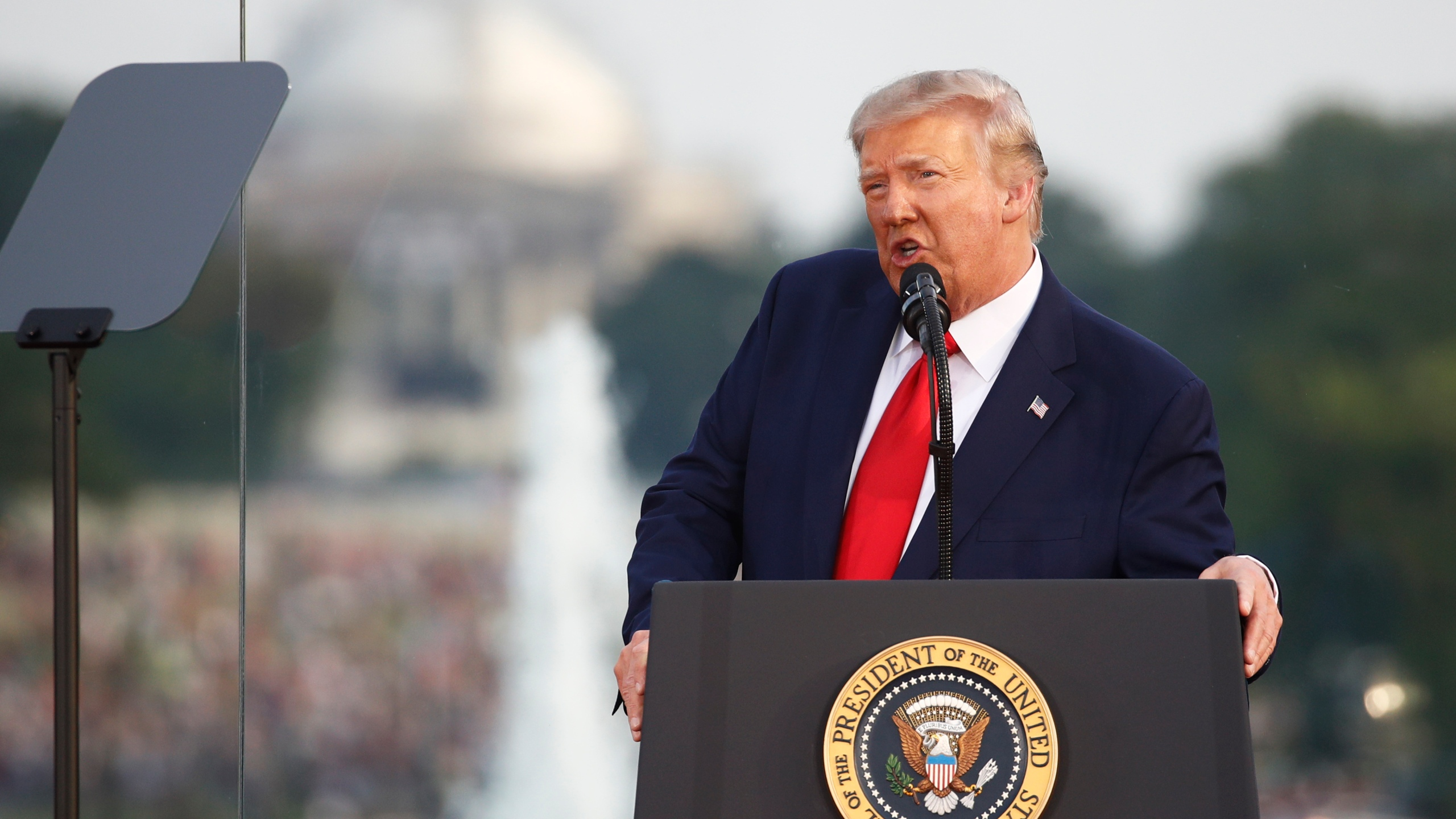 "President Donald Trump speaks during a ""Salute to America"" event on the South Lawn of the White House on July 4, 2020. (AP Photo/Patrick Semansky)"