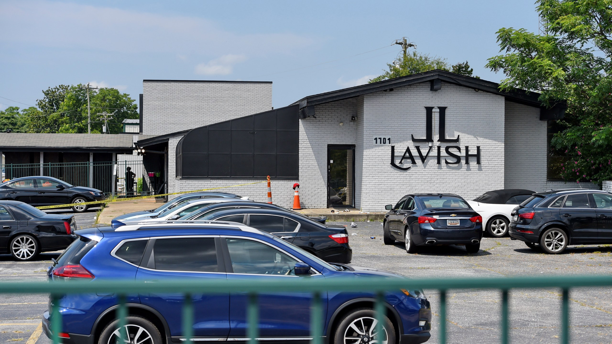 The Lavish Night Club where a shooting early Sunday, July 5, 2020, left numerous dead and at least 8 injured in Greenville, S.C. (AP Photo/Richard Shiro)