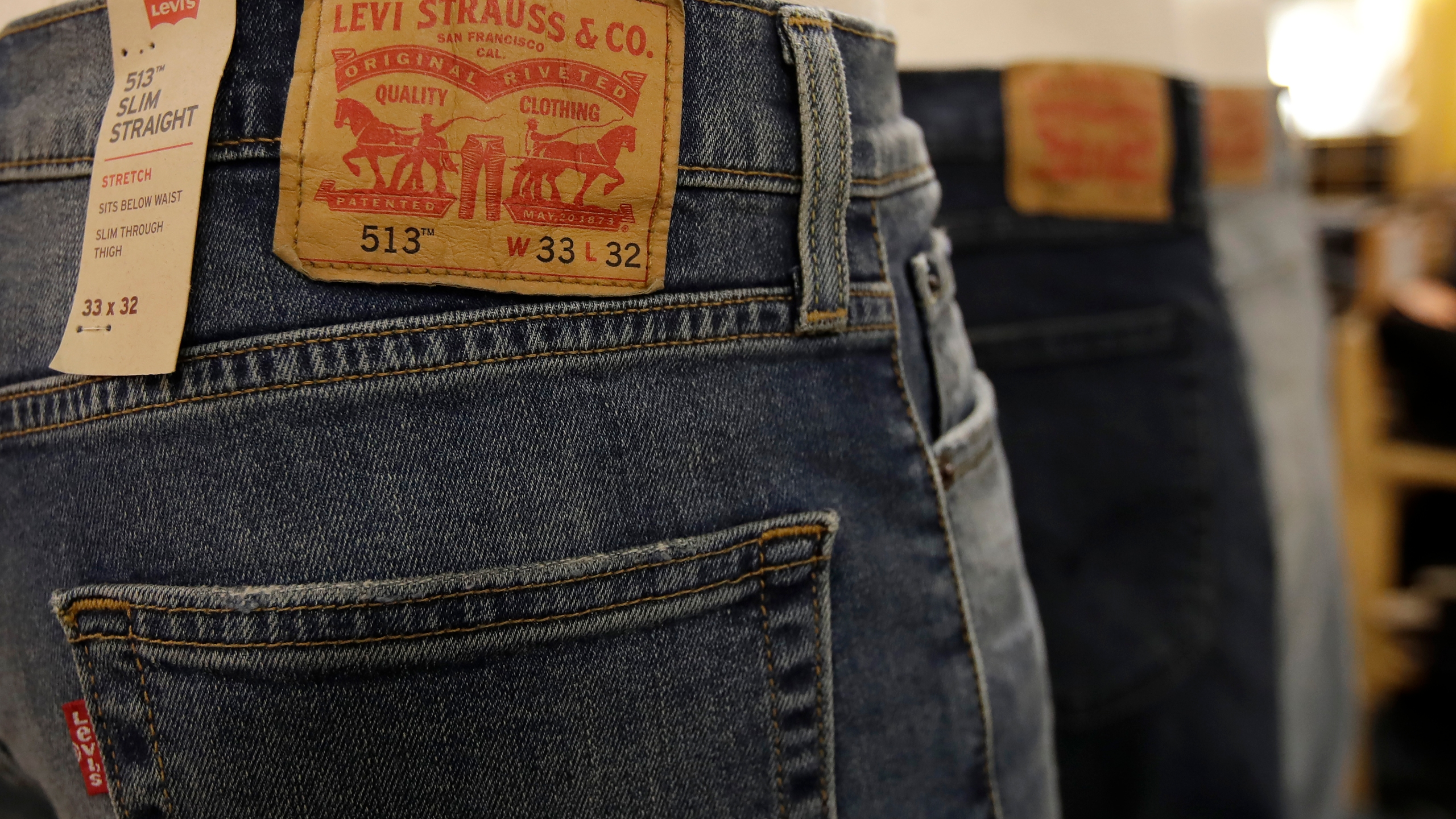 In this Nov. 29, 2019 file photo, Levi's jeans are displayed at a Kohl's store in Colma, California. (Jeff Chiu/Associated Press)