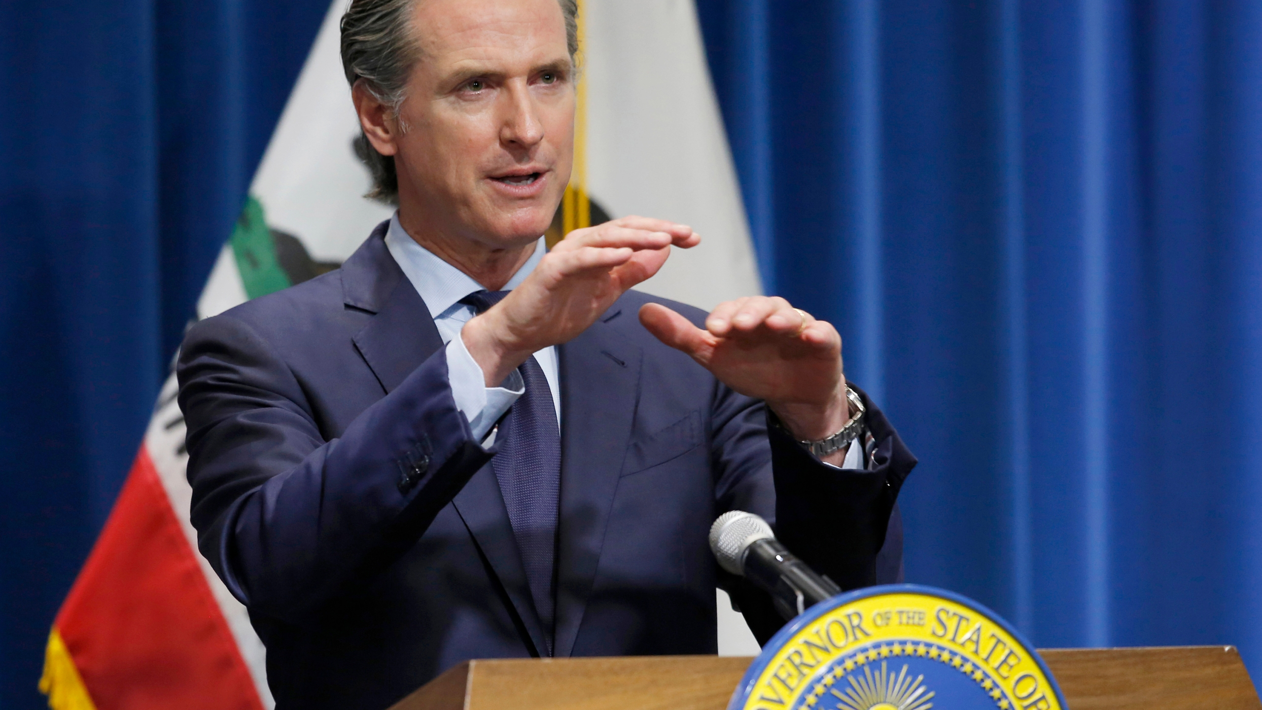 Gov. Gavin Newsom discusses his revised 2020-2021 state budget during a news conference in Sacramento on May 14, 2020. (Rich Pedroncelli / Associated Press)