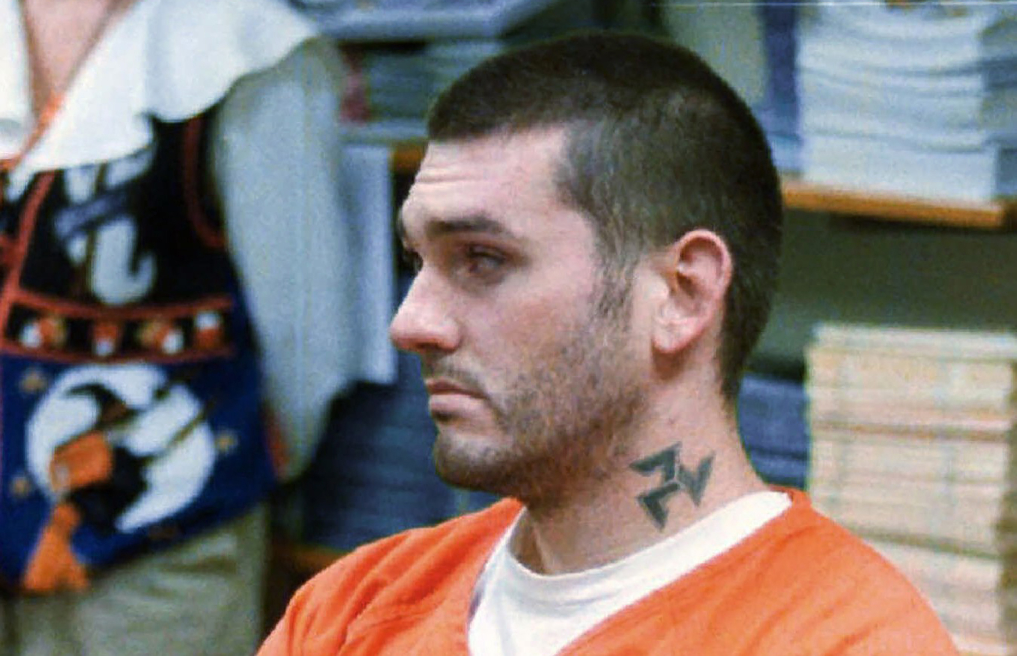 In this Oct. 31 1997 file photo, Daniel Lewis Lee waits for his arraignment hearing for murder in the Pope County Detention Center in Russellville, Ark. (Dan Pierce/The Courier via AP, File)