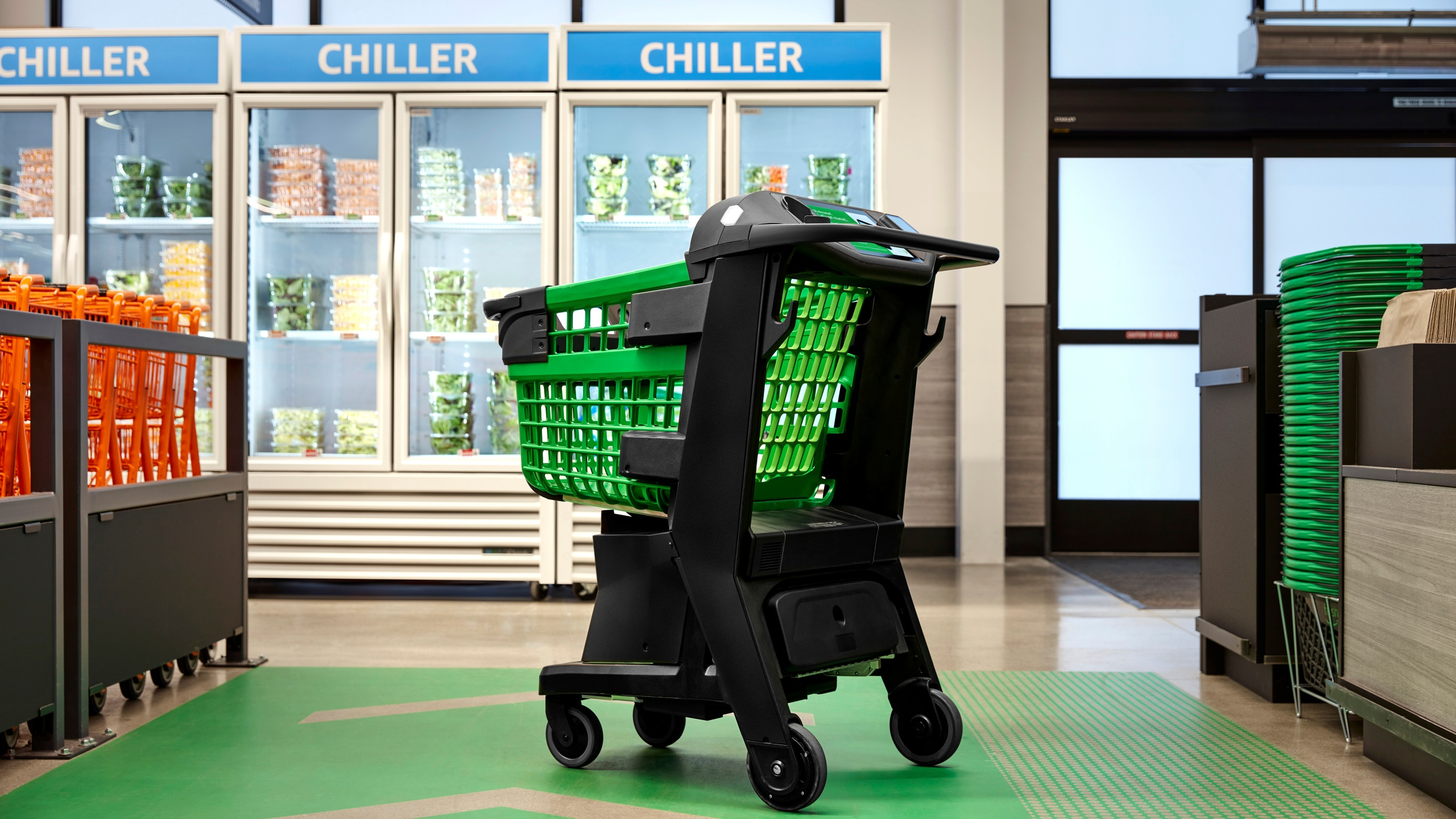 In a photo provided by Amazon, the company's smart shopping cart is seen in spring 2020 in Los Angeles. The cart, which Amazon unveiled on July 14, 2020, uses cameras, sensors and a scale to automatically detect what shoppers drop in. It keeps a tally and then charges their Amazon account when they leave the store. No cashier is needed. (Amazon via AP)