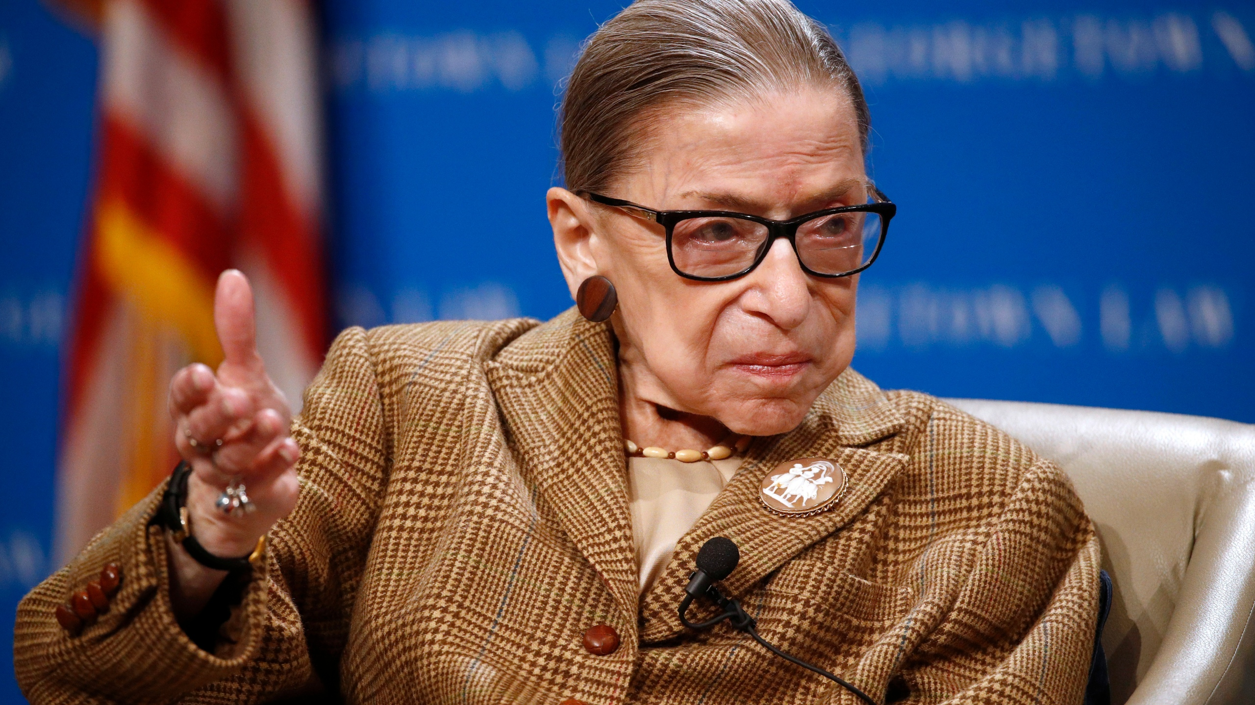 In this Feb. 10, 2020, file photo U.S. Supreme Court Associate Justice Ruth Bader Ginsburg speaks during a discussion on the 100th anniversary of the ratification of the 19th Amendment at Georgetown University Law Center in Washington. (Patrick Semansky / Associated Press)