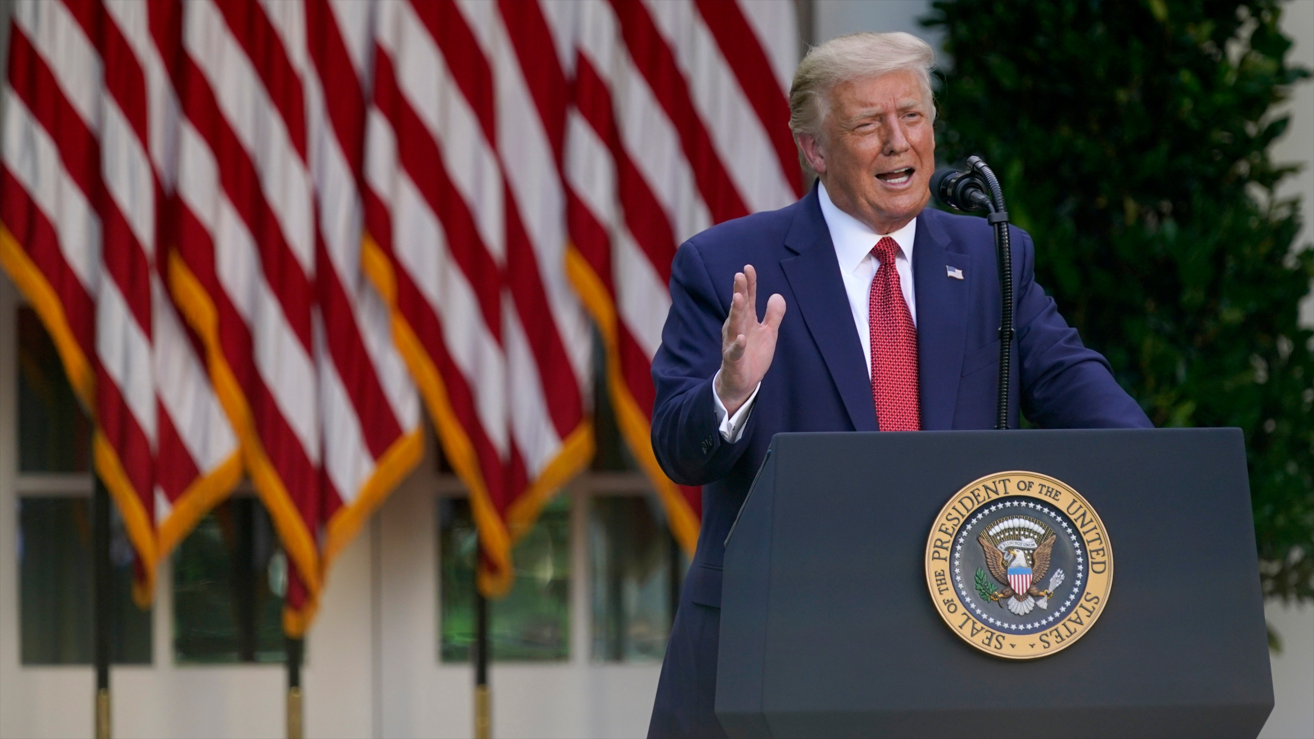 President Donald Trump speaks during a news conference in the Rose Garden of the White House on July 14, 2020, in Washington. (AP Photo/Evan Vucci)