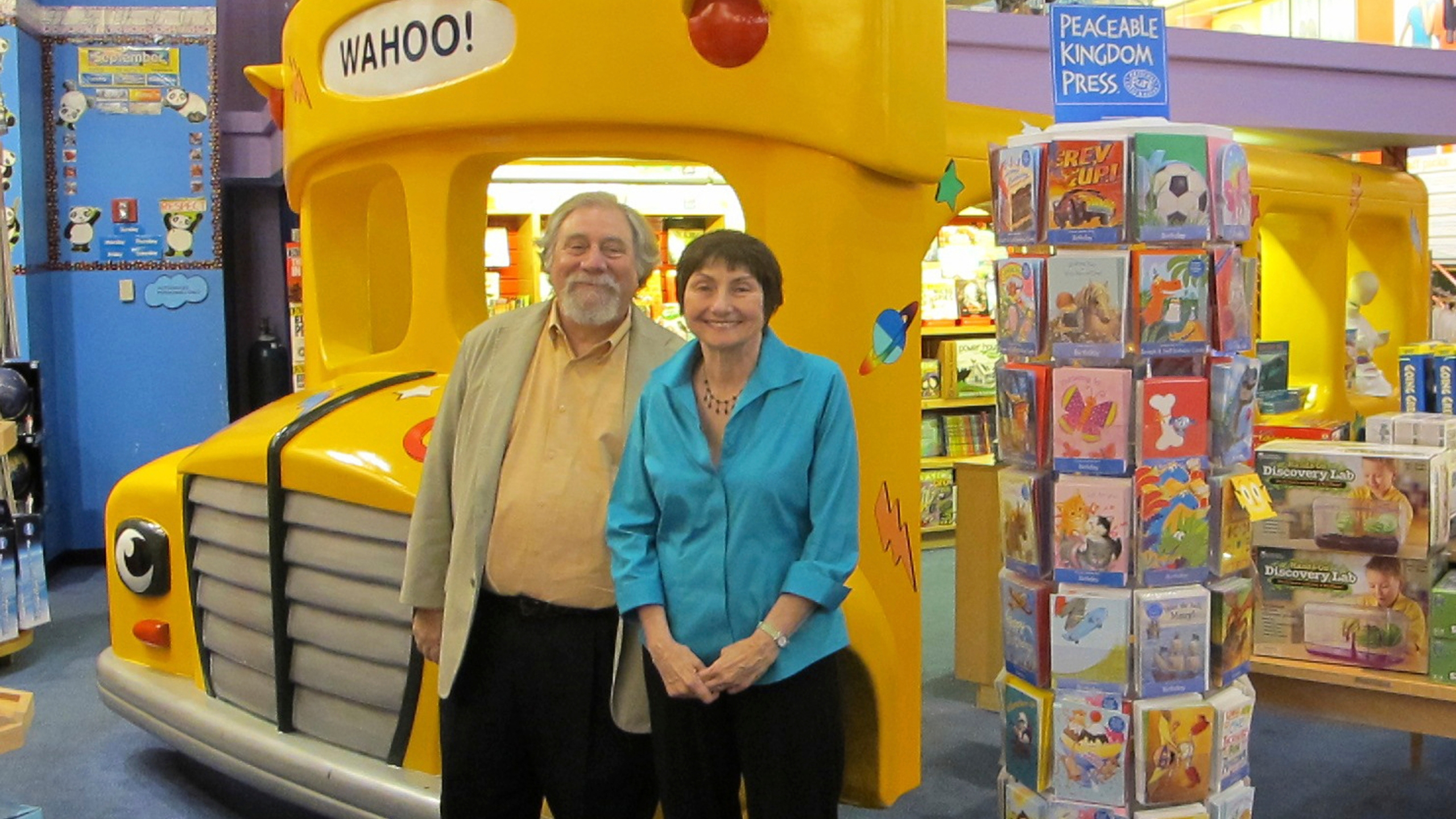 Joanna Cole, right, and illustrator Bruce Degen are seen in this handout photo provided by Scholastic. (Annabelle Helms/Scholastic via AP)