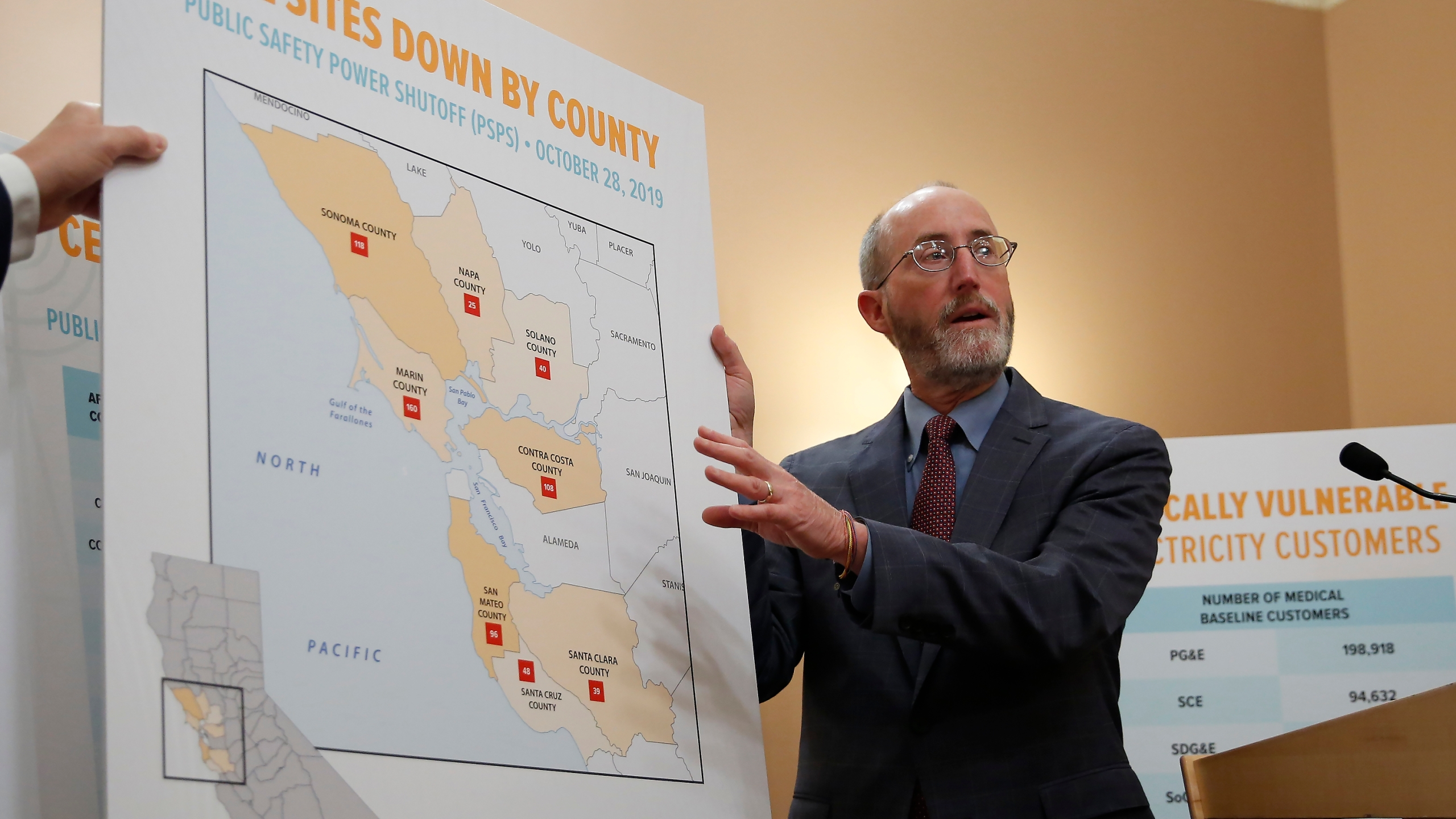 Sen. Steve Glazer, D-Orinda, displays a chart showing cell tower sites that were shut down during power outages in 2019, in Sacramento on Jan. 8, 2020. (AP Photo/Rich Pedroncelli, File)