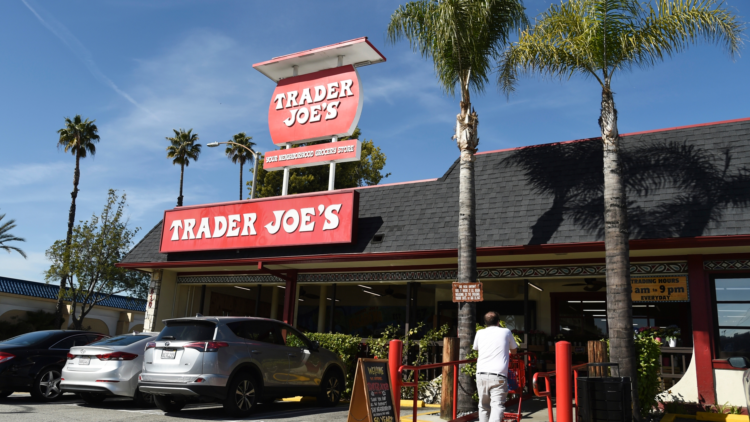 In this Feb. 26, 2020, file photo, the original Trader Joe's grocery store in Pasadena, Calif., is viewed. Responding to calls for Trader Joe's to stop labeling its international food products with ethnic-sounding names, the grocery store chain said it has been in a yearslong process of repackaging those products and will soon complete the work. (AP Photo/Chris Pizzello, File)