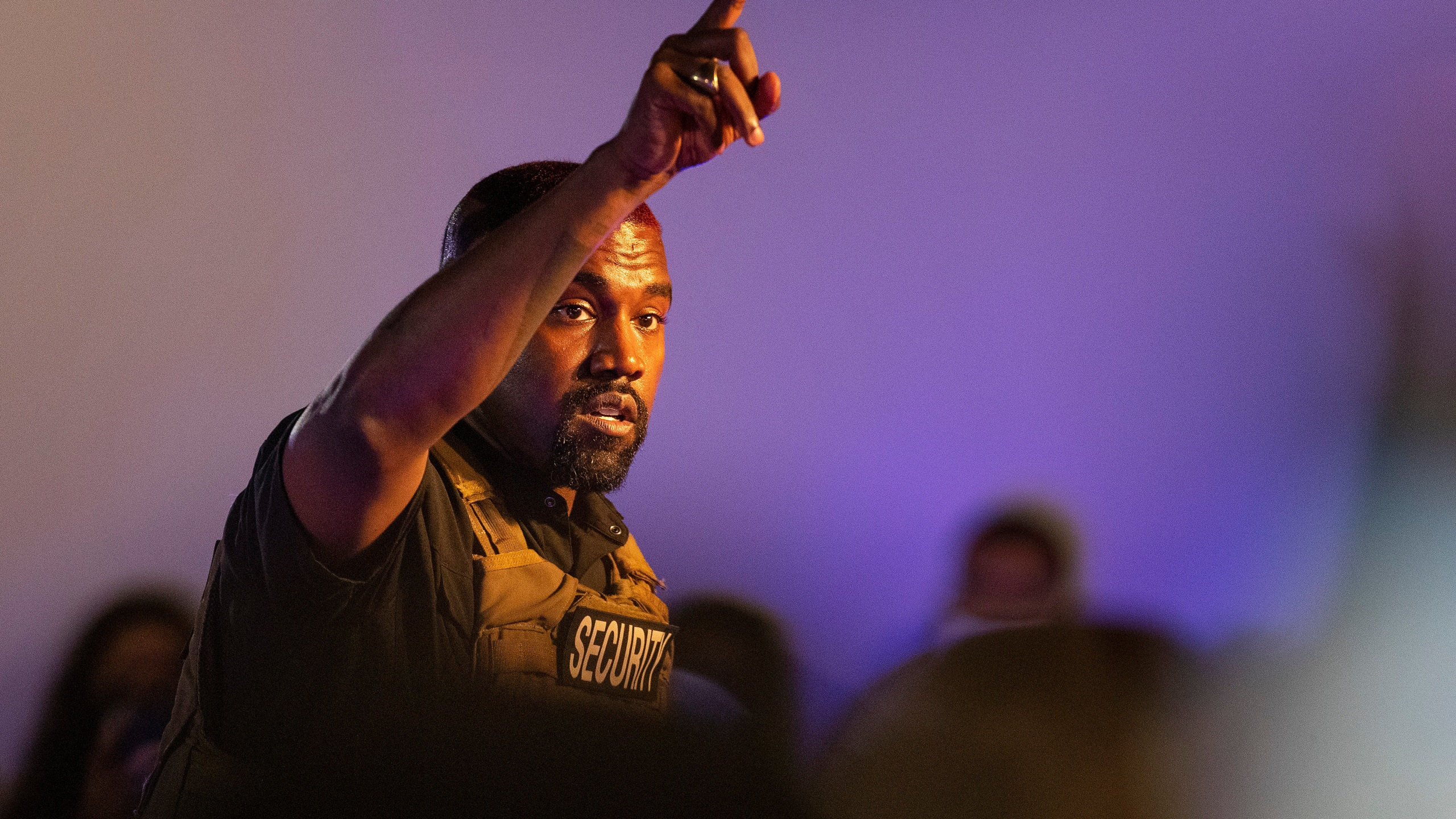 Kanye West makes his first presidential campaign appearance on July 19, 2020, in North Charleston, South Carolina. (Lauren Petracca Ipetracca/The Post And Courier via Associated Press)