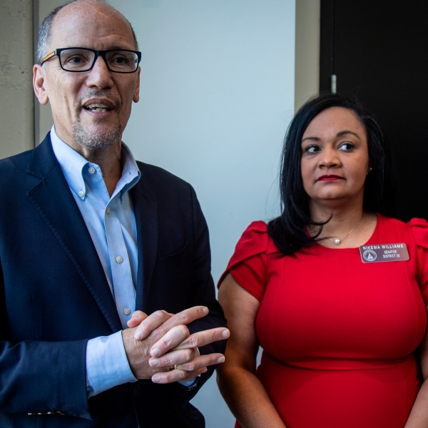 Tom Perez, left, chair of the Democratic National Committee, and Nikema Williams, chair of the Georgia Democratic Party, speak with reporters, in Atlanta on Nov. 20, 2019. (Ron Harris/Associated Press)