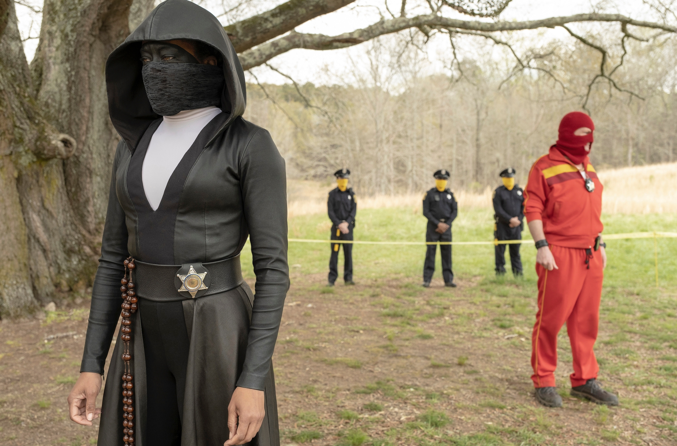 "This image released by HBO shows Regina King in a scene from ""Watchmen.""(Mark Hill/HBO via AP)"