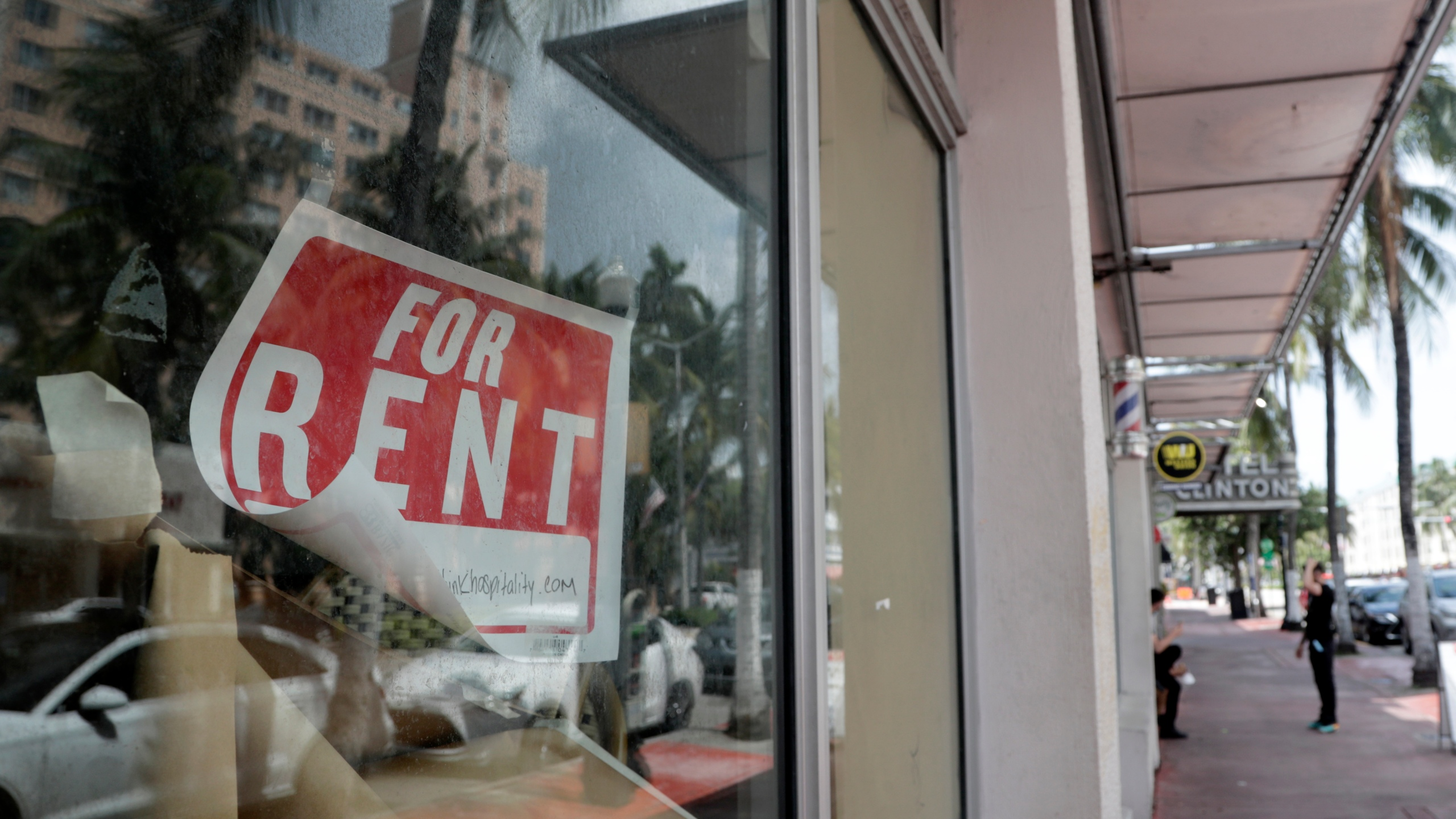 In this July 13, 2020 file photo, a For Rent sign hangs on a closed shop during the coronavirus pandemic in Miami Beach, Fla. (AP Photo/Lynne Sladky)