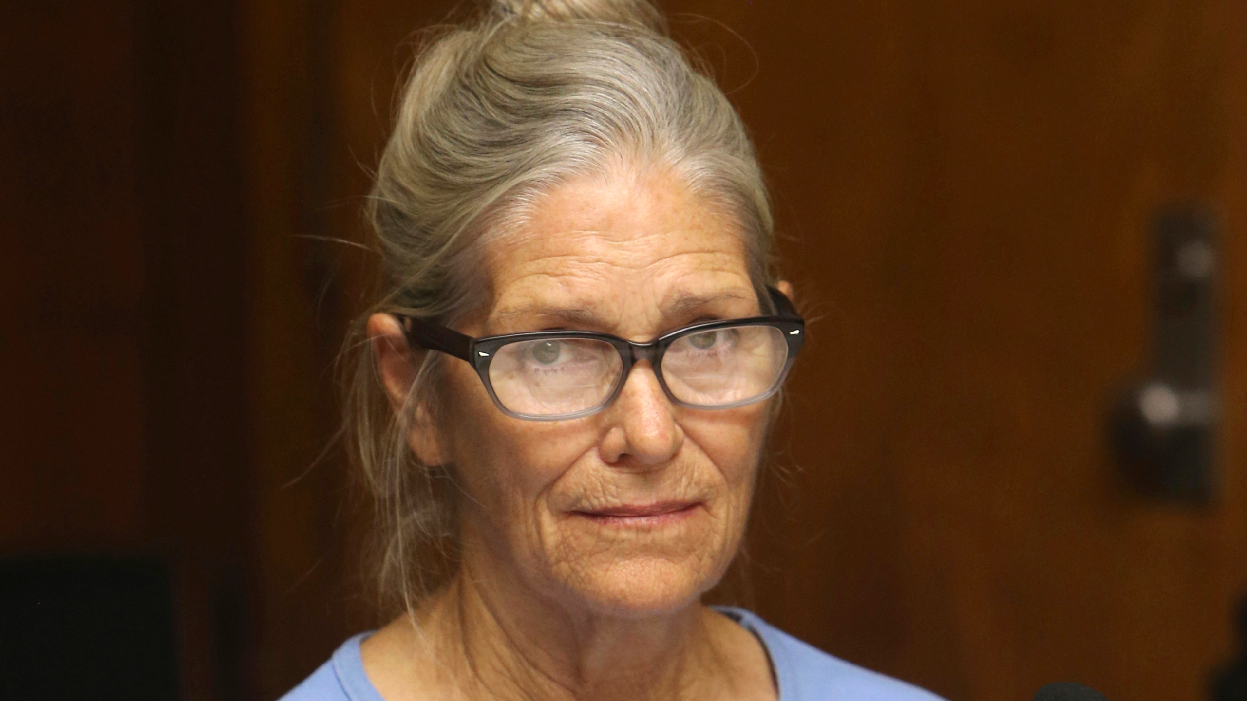 In this Sept. 6, 2017, file photo, is Leslie Van Houten at her parole hearing at the California Institution for Women in Corona. (StanLim/Los Angeles Daily News via AP, Pool, File)