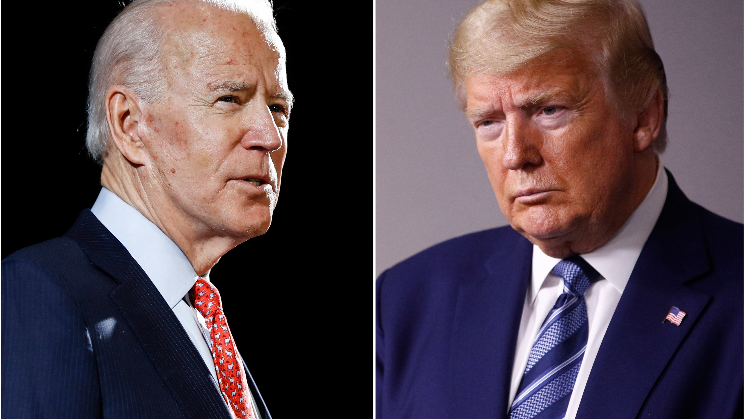 In this combination of file photos, former Vice President Joe Biden speaks in Wilmington, Del., on March 12, 2020, left, and President Donald Trump speaks at the White House in Washington on April 5, 2020. (AP Photo, File)