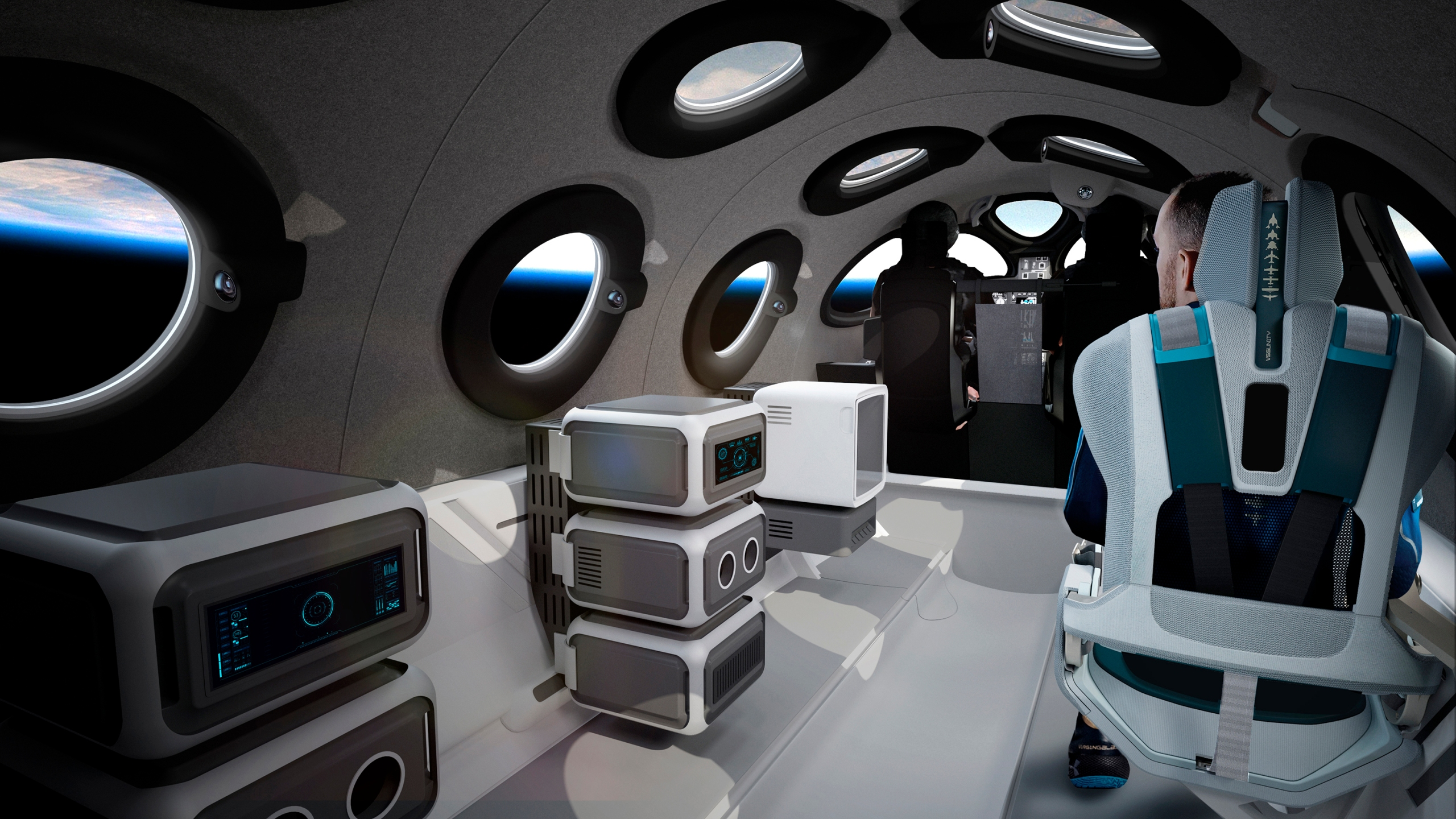 This undated photo released by Virgin Galactic shows the interior of their SpaceShipTwo Cabin during a flight.
