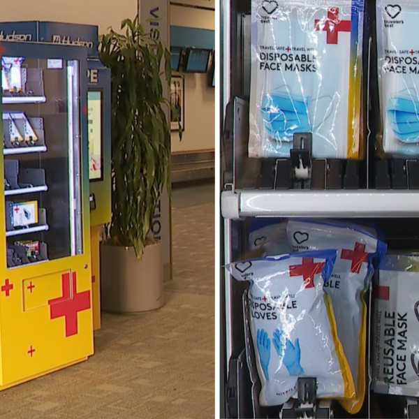 A newly installed PPE vending machine is seen at Hollywood Burbank Airport on July 10, 2020. (KTLA)