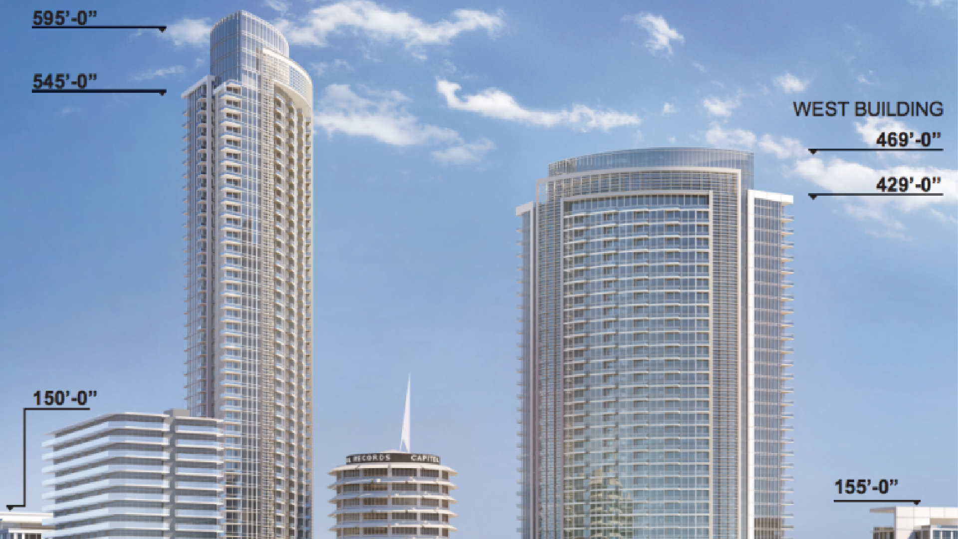 The proposed Hollywood Center project includes 46- and 35-story buildings flanking the Capitol Records tower and two 11-story residential buildings for low-income senior residents.(Hollywood Center Project Environmental Impact Report via Los Angeles Times)