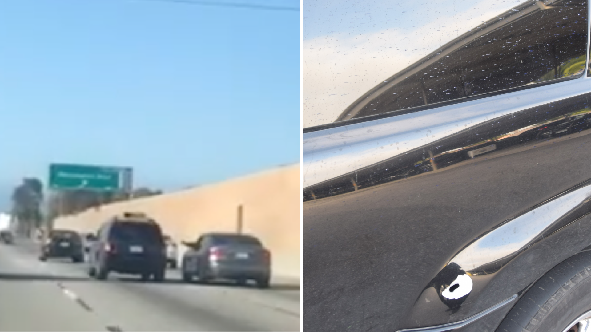 A driver in a silver sedan aims pepper spray at the occupants of a black SUV on in 605 Freeway in Whittier on May 3, 2020. On the right, the bullet hole is seen in the vehicle that was shot at. (CHP)