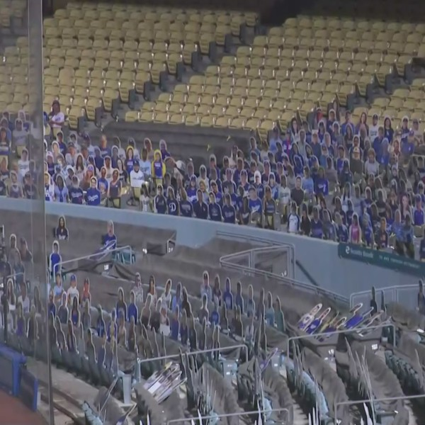 Cardboard cut-outs of fans filled the stadium ahead of the game on July 23, 2020. (KTLA)