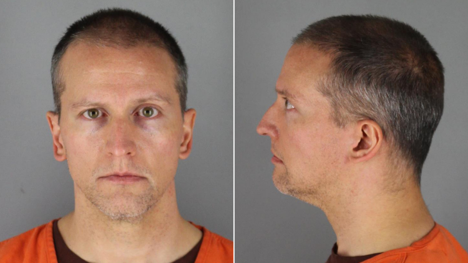 Derek Chauvin is seen in booking photos released by the Hennepin County Sheriff's Office.