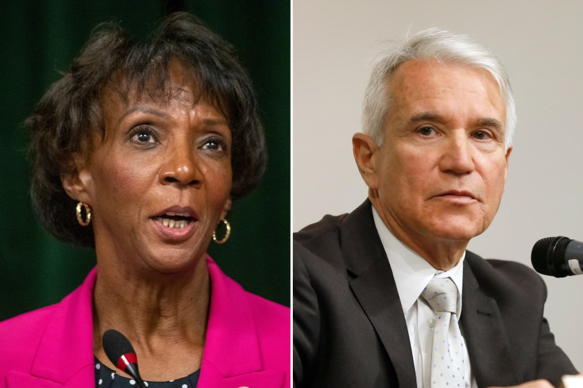 Los Angeles County Dist. Atty. Jackie Lacey and former San Francisco Dist. Atty. George Gascón are shown in undated file photos. (Allen J. Schaben and Carolyn Cole/Los Angeles Times)