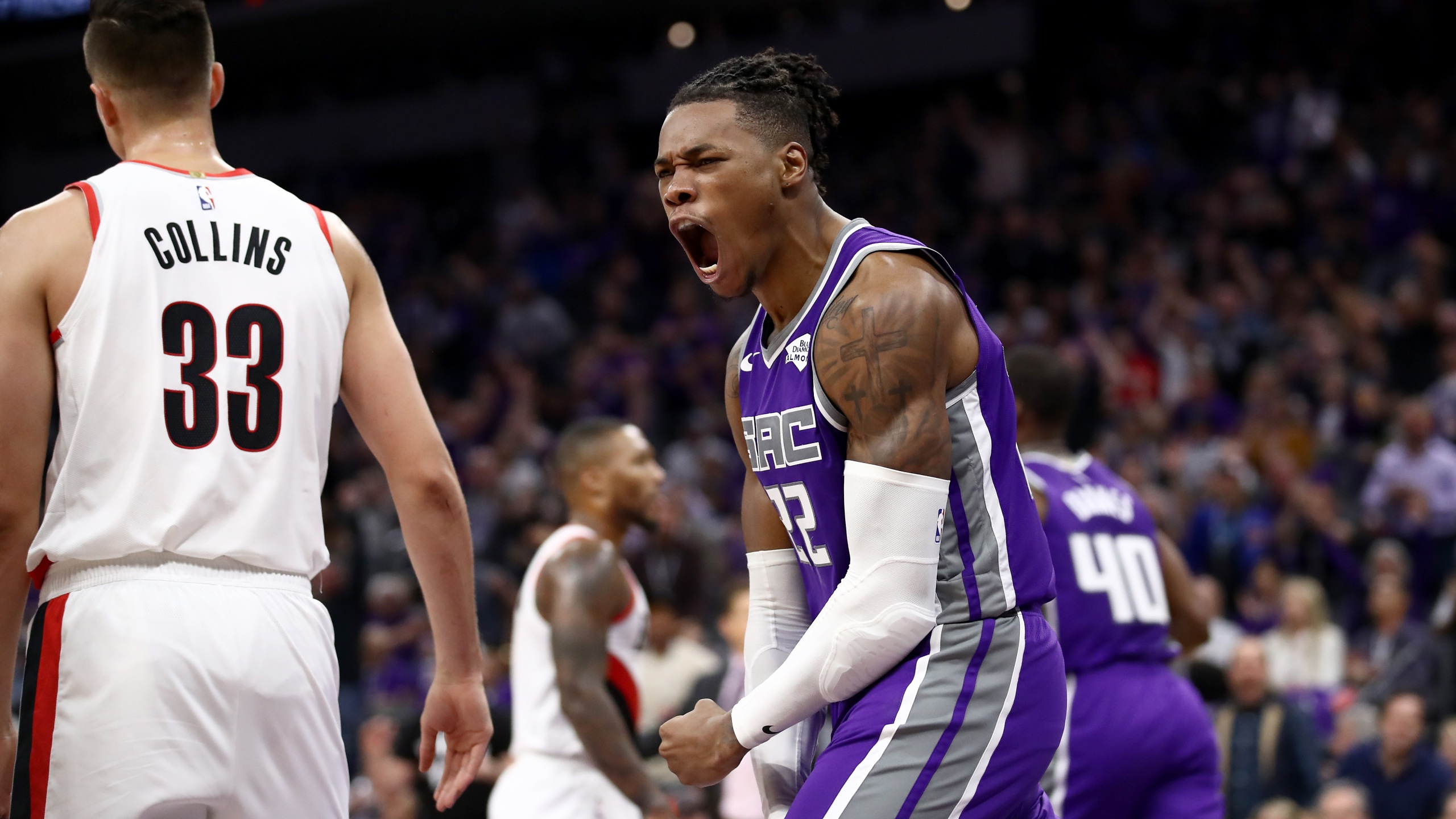 Richaun Holmes #22 of the Sacramento Kings reacts after dunking the ball against the Portland Trail Blazers at Golden 1 Center on Oct. 25, 2019 in Sacramento. (Ezra Shaw/Getty Images)