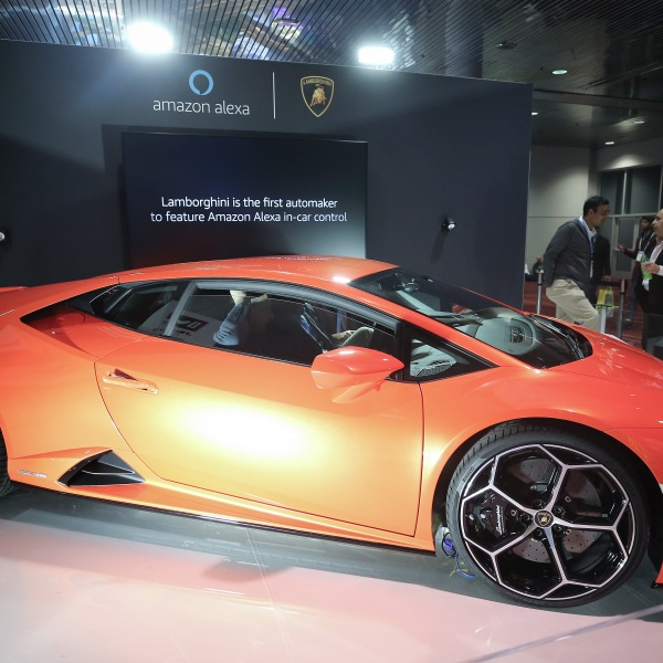 In this file photo, a Lamborghini Huracan Evo is displayed at CES 2020 at the Las Vegas Convention Center on January 8, 2020 in Las Vegas, Nevada. (Mario Tama/Getty Images)