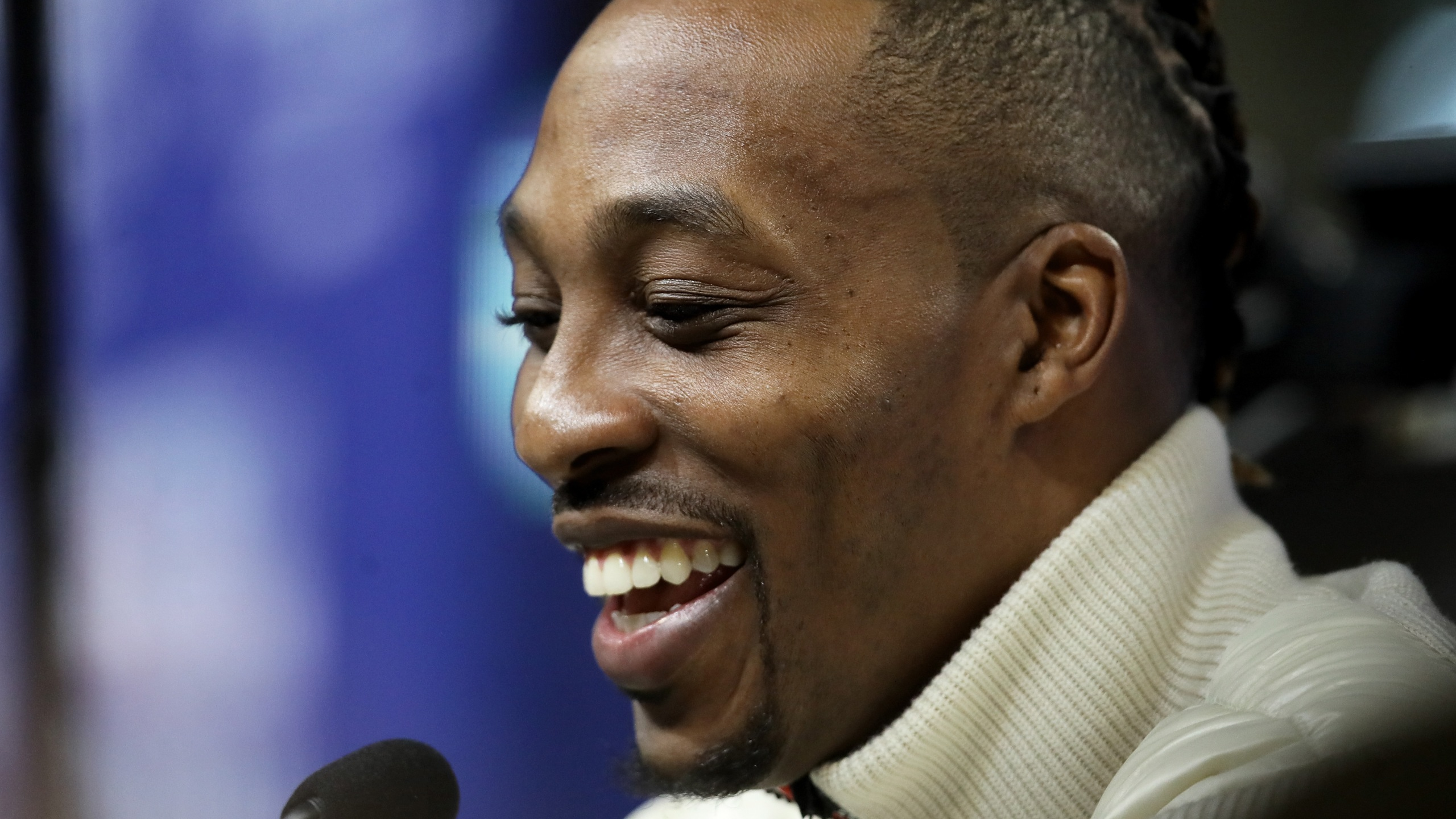 Dwight Howard of the Los Angeles Lakers speaks to the media during 2020 NBA All-Star Practice Media Day at Wintrust Arena on Feb. 15, 2020 in Chicago, Illinois. (Jonathan Daniel/Getty Images)
