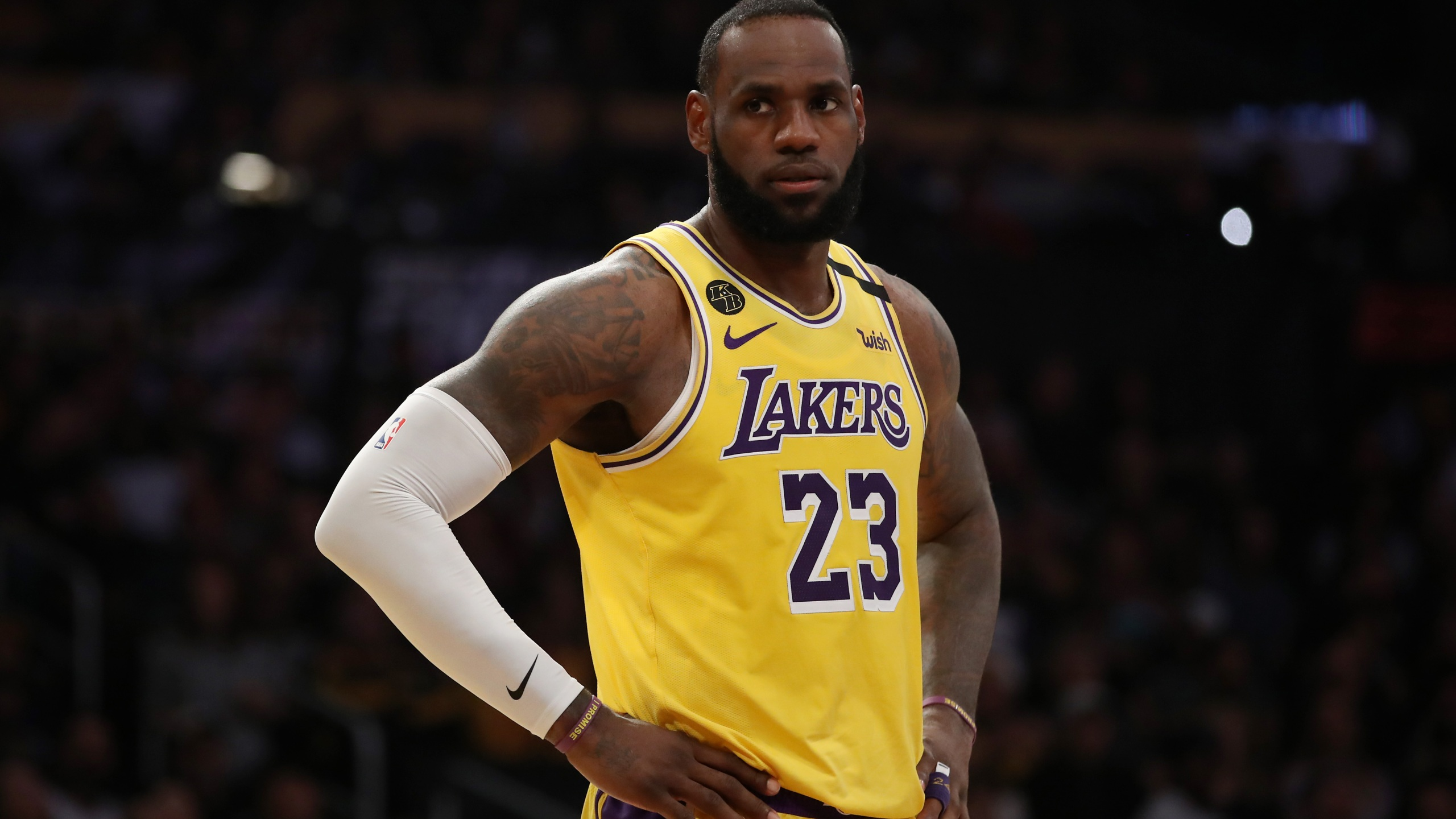 LeBron James of the Los Angeles Lakers stands on the court in a game against the New Orleans Pelicans at Staples Center on Feb. 25, 2020. (Katelyn Mulcahy / Getty Images)
