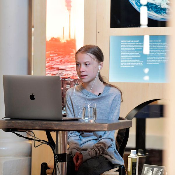 Swedish climate and environmental activist Greta Thunberg is seen during a video conversation with Swedish Professor and joint director of the Potsdam Institute for Climate Impact Research during a live broadcast from the Nobel Prize Museum in Stockholm, Sweden, on April 22, 2020. (JESSICA GOW/TT News Agency/AFP via Getty Images)