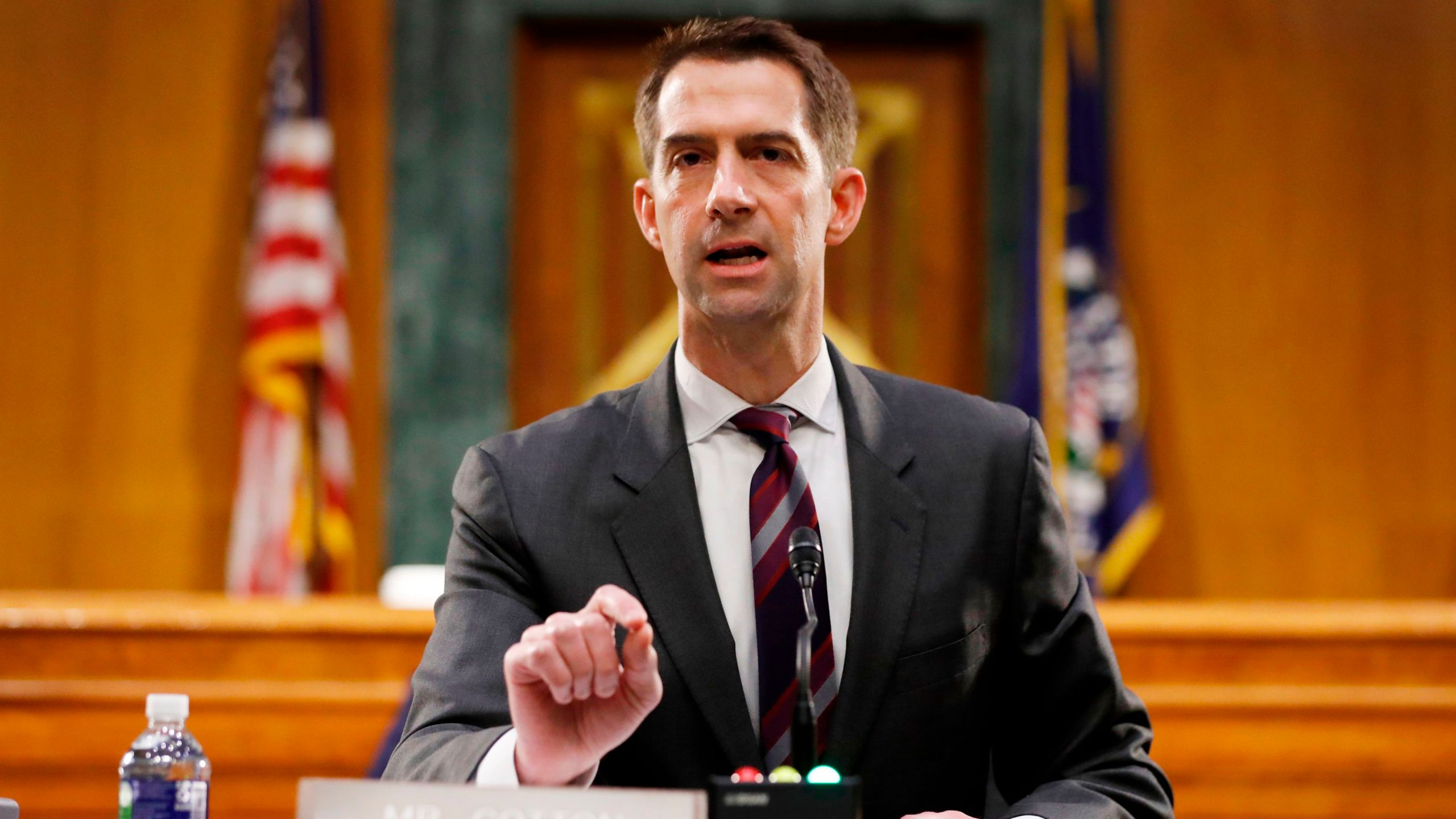 Sen. Tom Cotton speaks during a Senate Intelligence Committee nomination hearing for Rep. John Ratcliffe on Capitol Hill on May 5, 2020. (ANDREW HARNIK / AFP / Getty Images)
