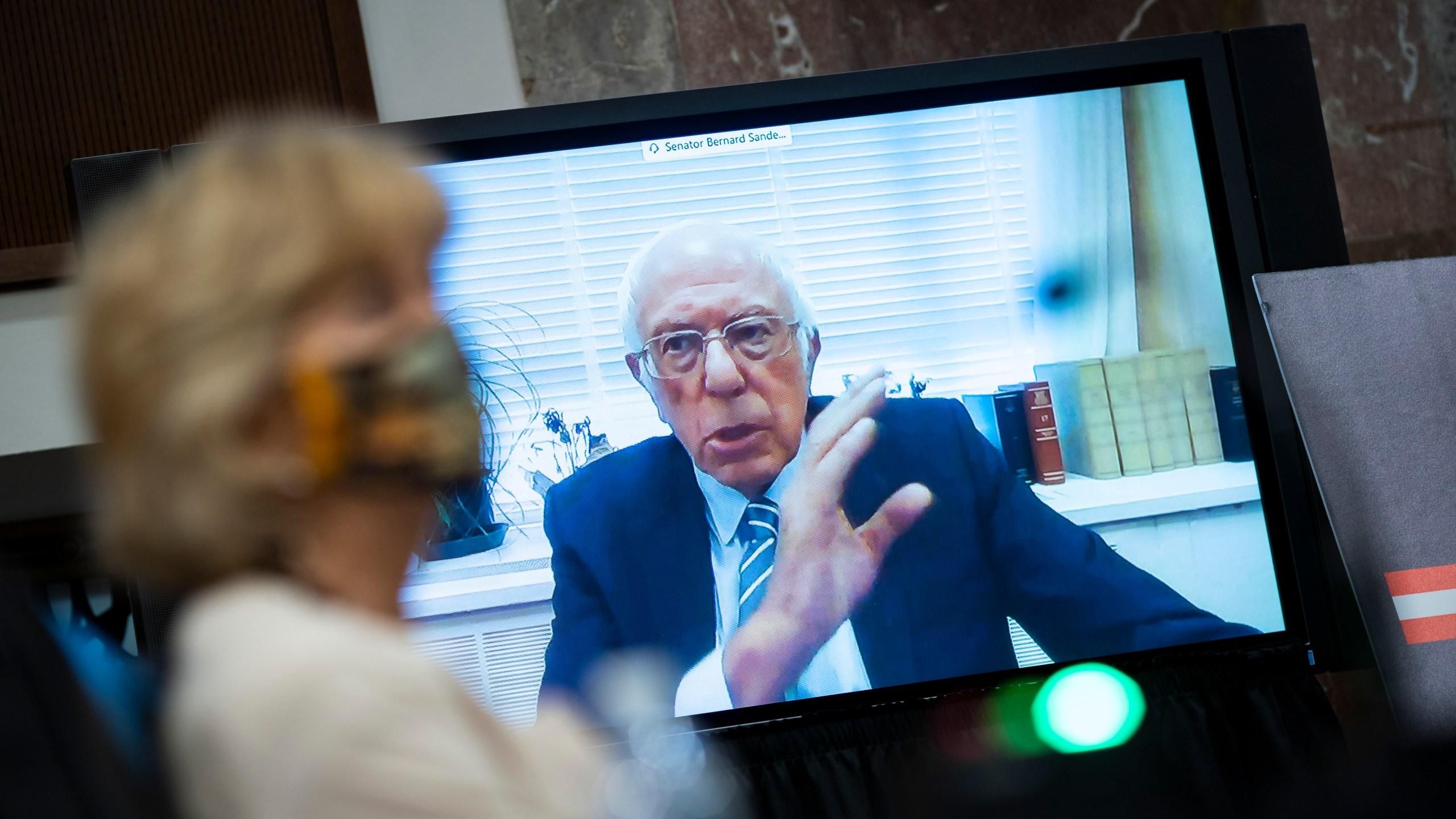 Sen. Bernie Sanders (I-VT) speaks via teleconference during a Senate Help Committee hearing on June 30, 2020, in Washington, DC. (Al Drago - Pool/Getty Images)