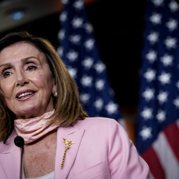 Speaker of the House Nancy Pelosi (D-CA) speaks during her weekly news conference on Capitol Hill on July 9, 2020. (Drew Angerer/Getty Images)