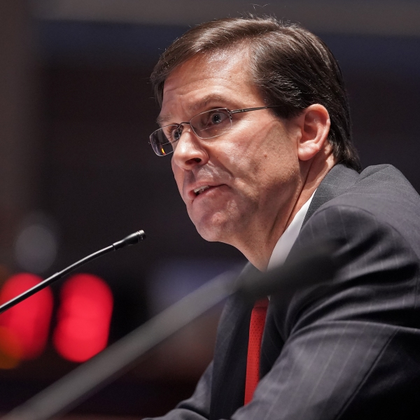 Secretary of Defense Mark Esper testifies during a House Armed Services Committee hearing on July 9, 2020. (GREG NASH/AFP via Getty Images)