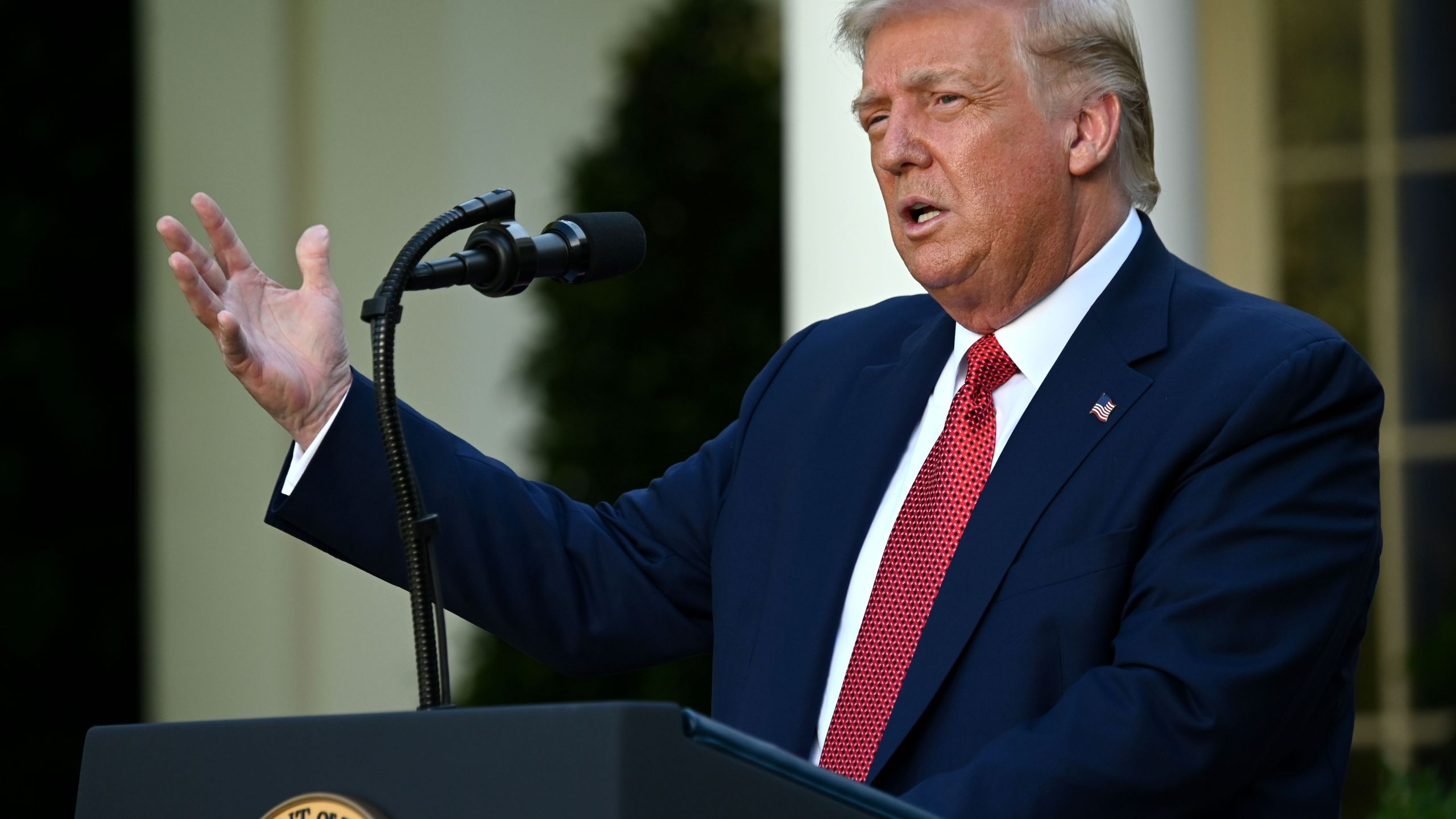 Donald Trump delivers a press conference in the Rose Garden of the White House on July 14, 2020. (JIM WATSON/ Getty Images)