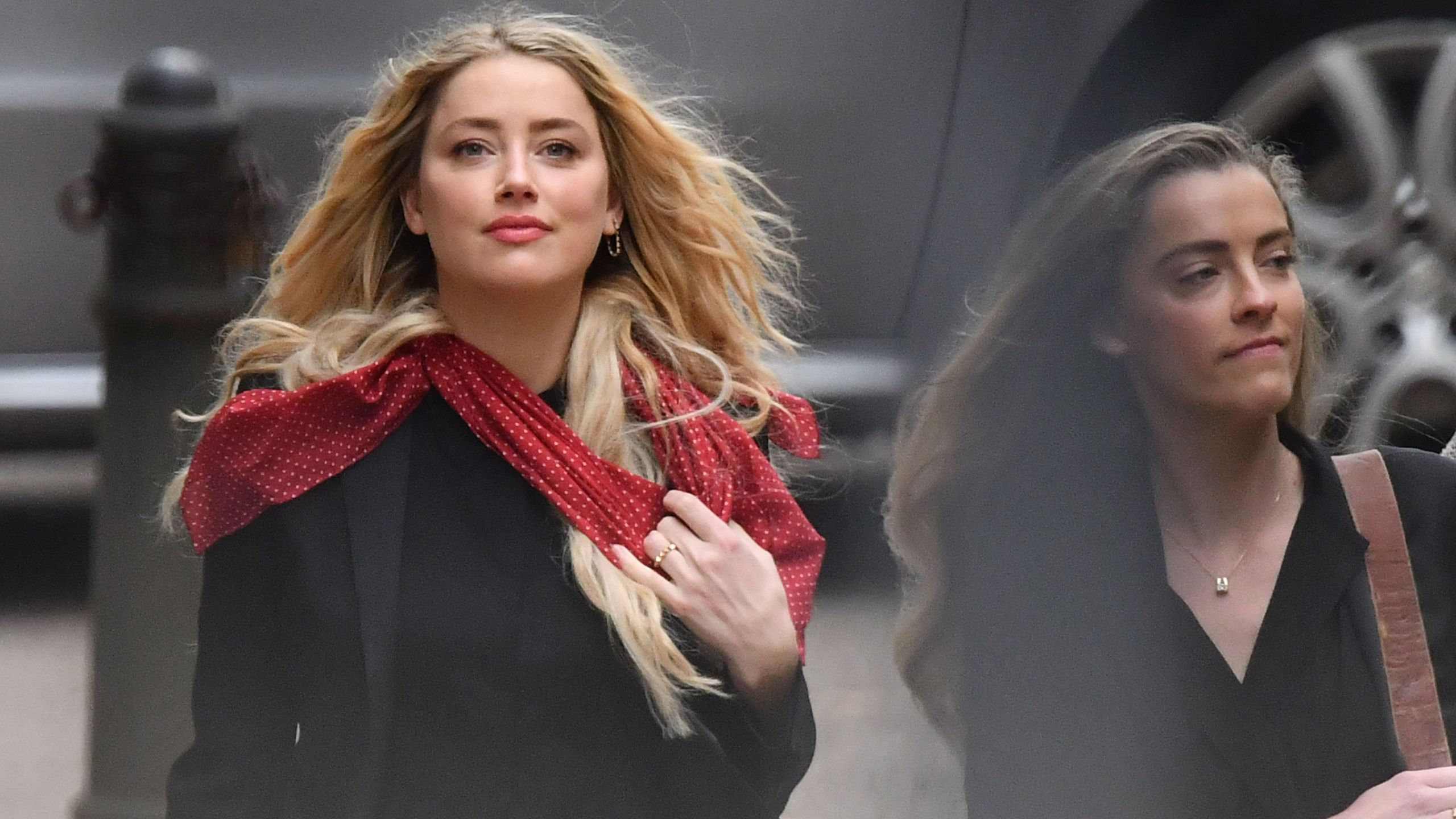 Actress Amber Heard arrives on day eight of the libel trial by her former husband actor Johnny Depp against News Group Newspapers (NGN), at the High Court in London, on July 16, 2020. (JUSTIN TALLIS/AFP via Getty Images)