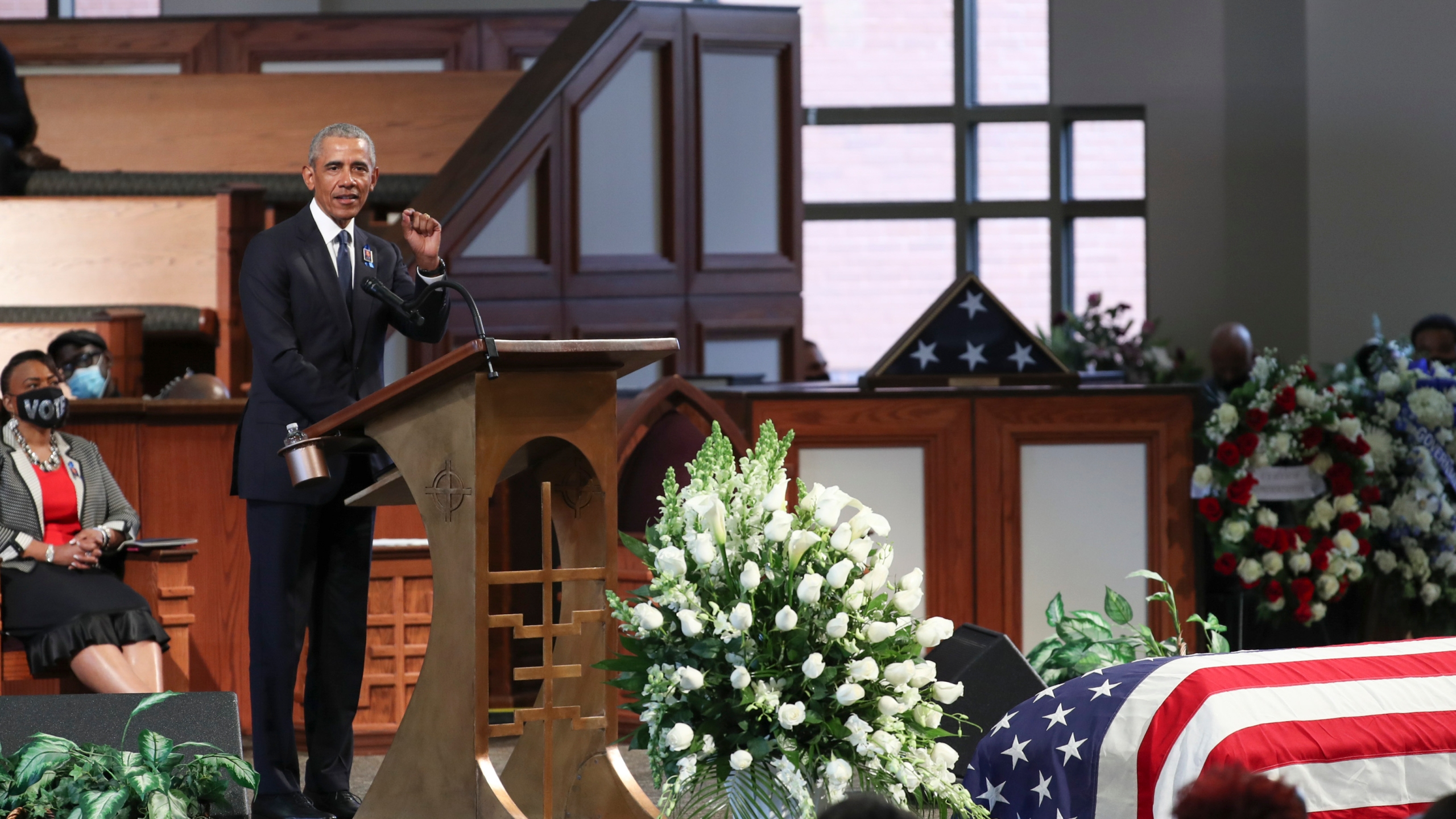Former US President Barack Obama speaks during the funeral of late Representative and Civil Rights leader John Lewis(D-GA) at the State Capitol in Atlanta, Georgia on July 30, 2020. (ALYSSA POINTER/POOL/AFP via Getty Images)