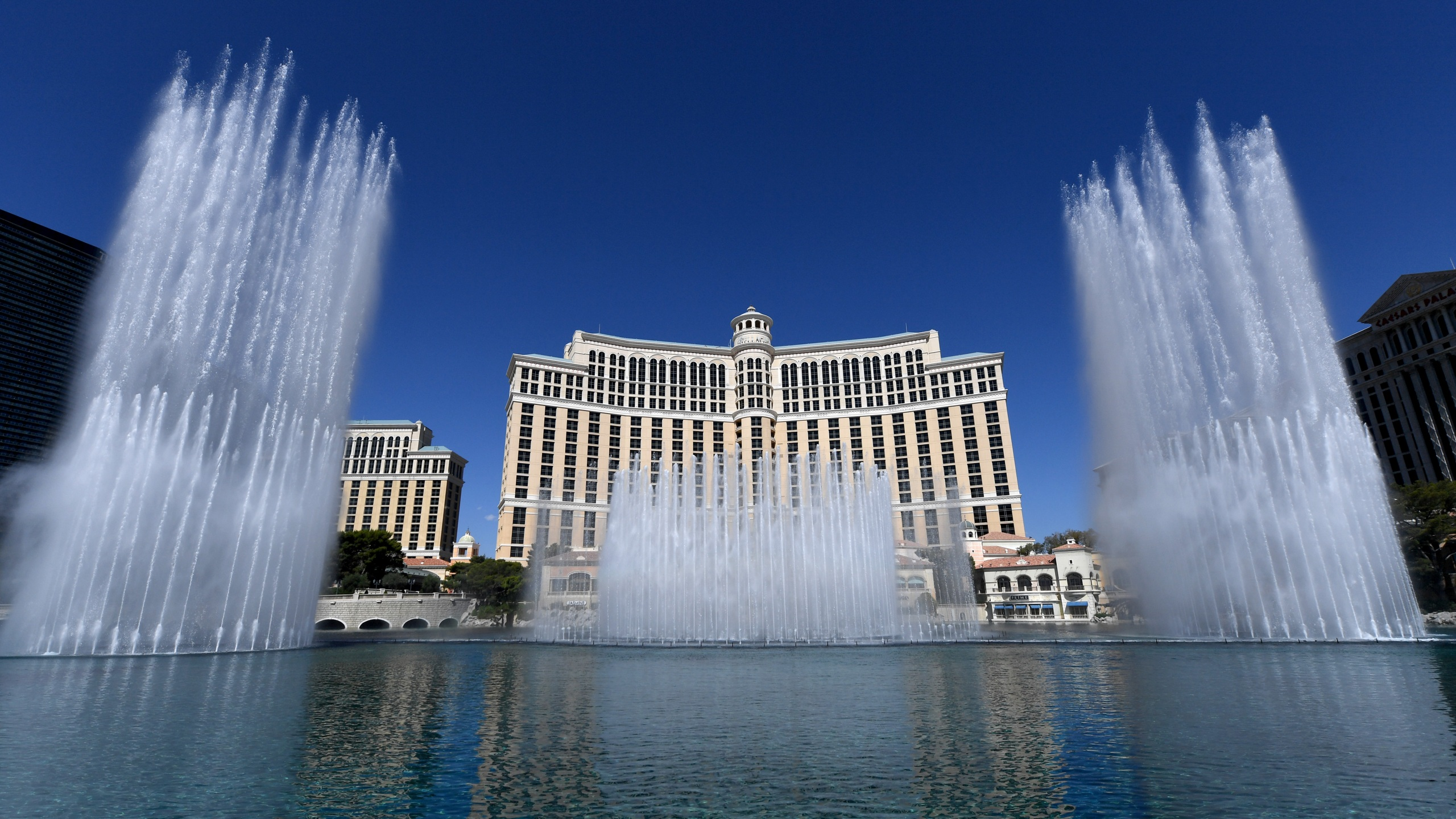 The Fountains of Bellagio launch for the first time since the Las Vegas resort closed on March 17 because of the coronavirus pandemic on June 4, 2020. (Ethan Miller / Getty Images)
