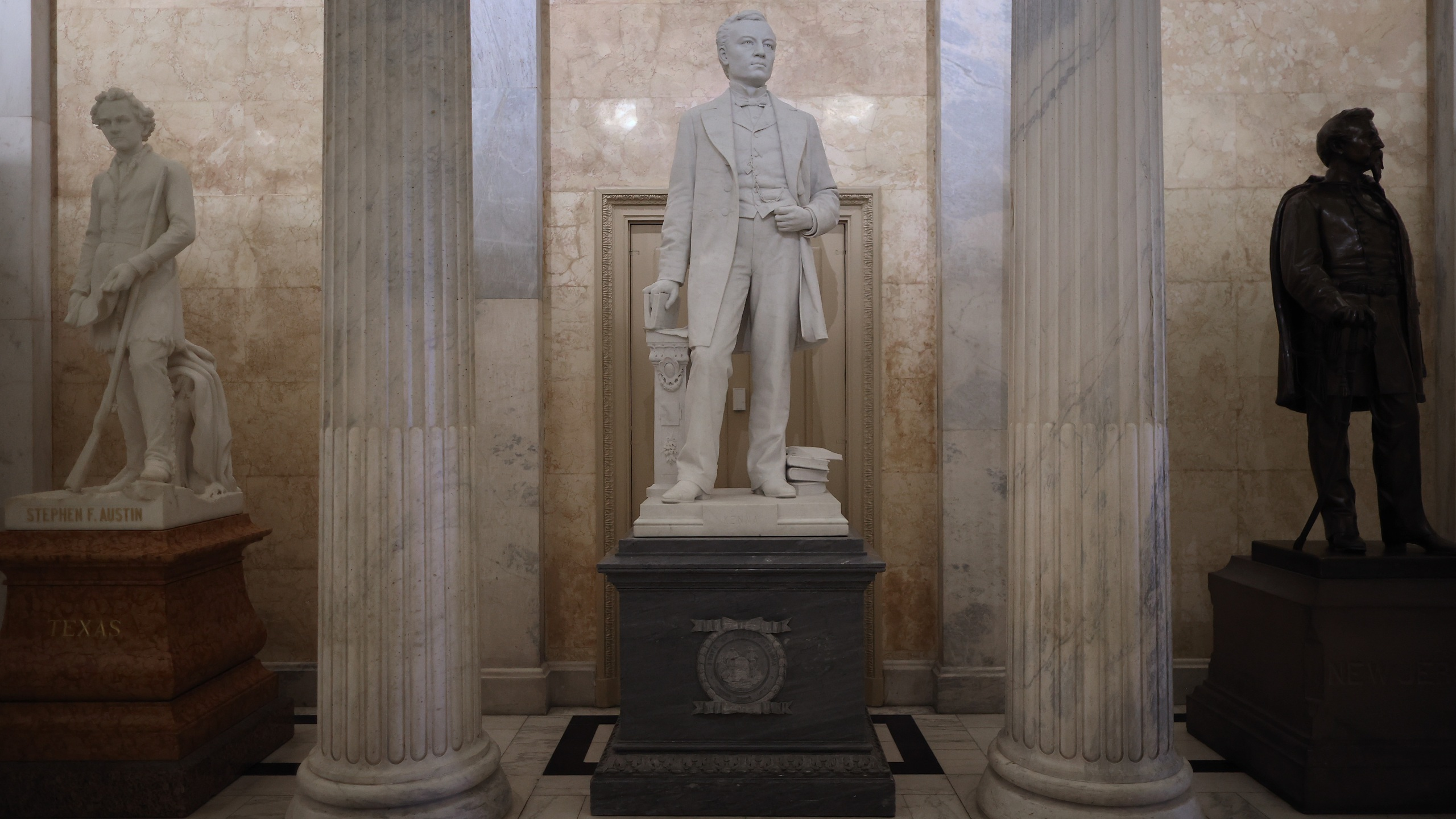 A statue of John E. Kenna, a Confederate soldier from West Virginia and U.S. Senator after the Civil War, is on display in the U.S. Capitol Hall of Columns June 18, 2020, in Washington, D.C. (Chip Somodevilla/Getty Images)