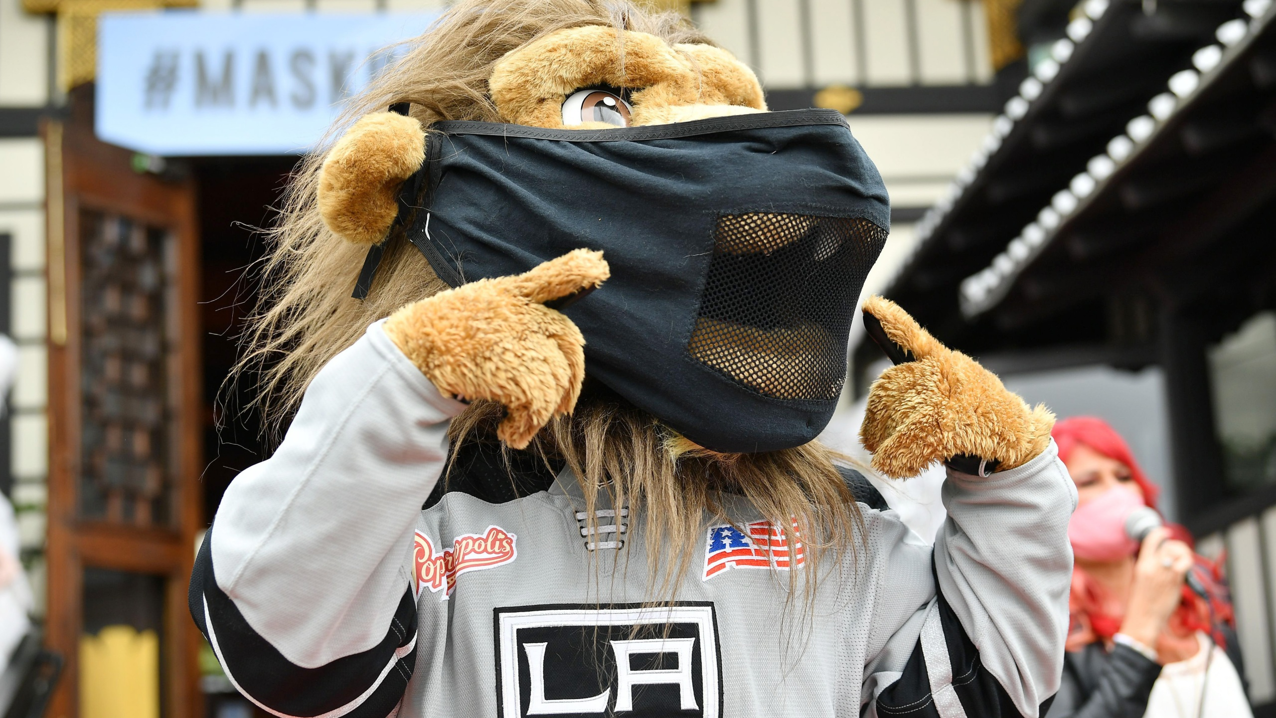 Los Angeles Kings Mascot Bailey participates in a pro-mask wearing pop-up fashion show at Yamashiro Hollywood during the COVID-19 pandemic on July 2, 2020. (Amy Sussman/Getty Images)