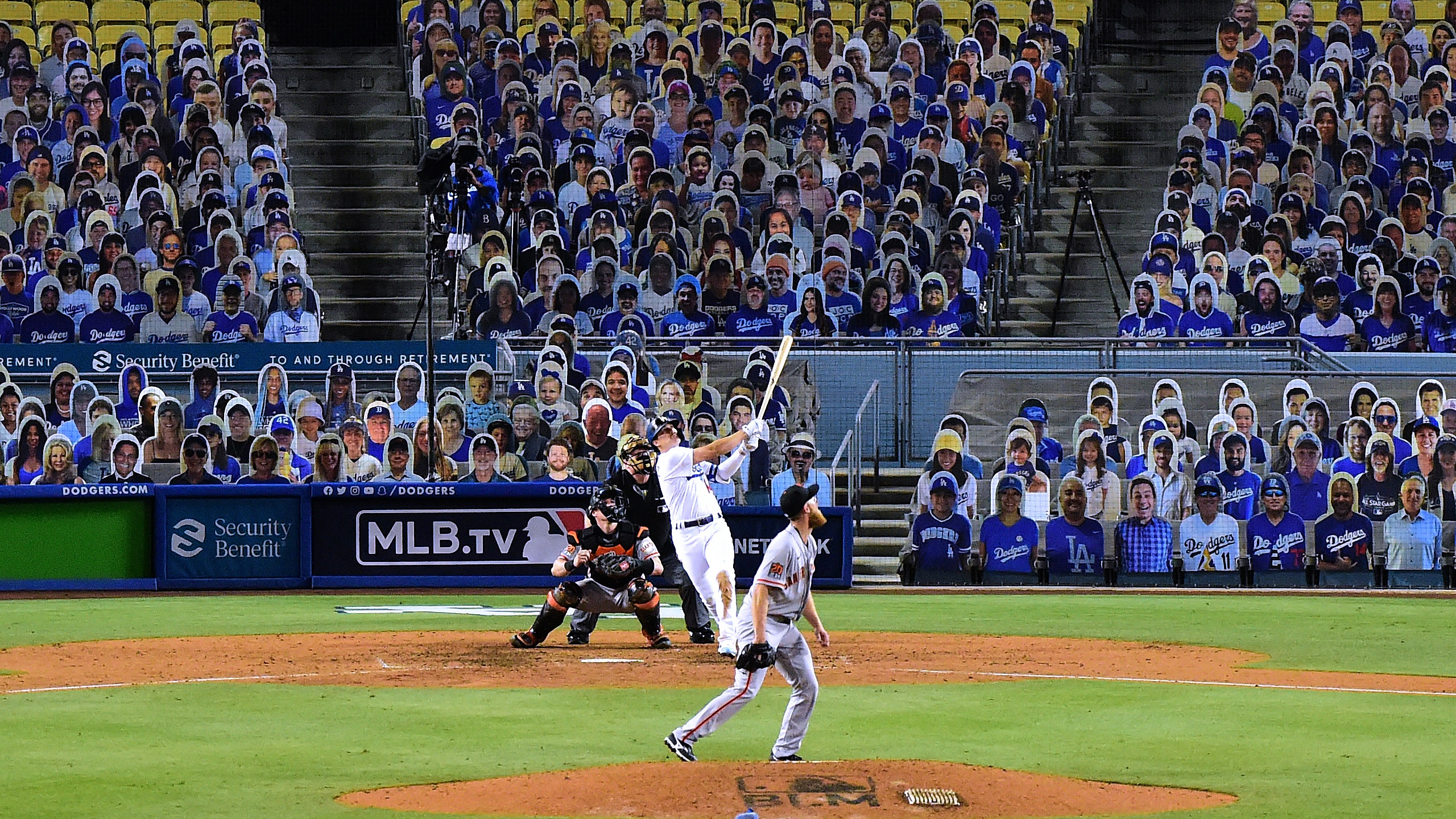 Enrique Hernandez hits a two run homerun off of Conner Menez to take an 8-1 lead during the eighth inning, on MLB Opening Day at Dodger Stadium on July 23, 2020. (Harry How/Getty Images)