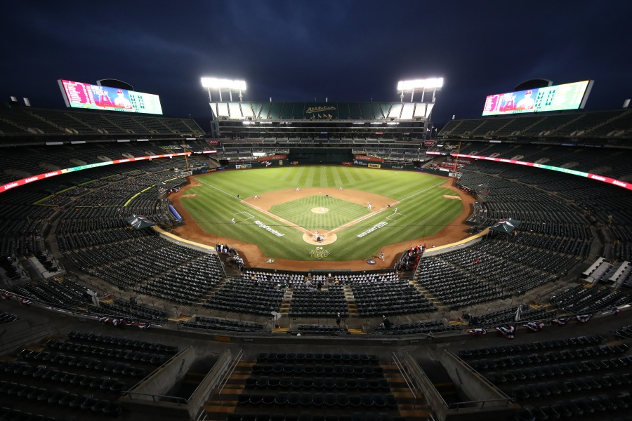 A general view of the empty stadium during the Oakland Athletics game against the Los Angeles Angels during opening day at Oakland-Alameda County Coliseum on July 24, 2020 in Oakland, California. (Ezra Shaw/Getty Images)