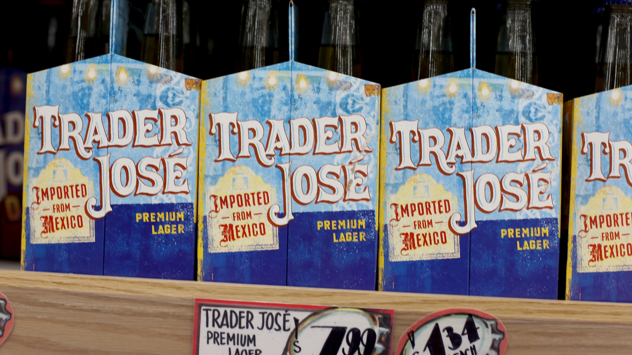 Trader Joe's beer, labeled Trader Jose's as a beer imported from Mexico, is seen on the shelf during the grand opening of a Trader Joe's store on Oct. 18, 2013, in Pinecrest, Fla. (Joe Raedle/ Getty Images)