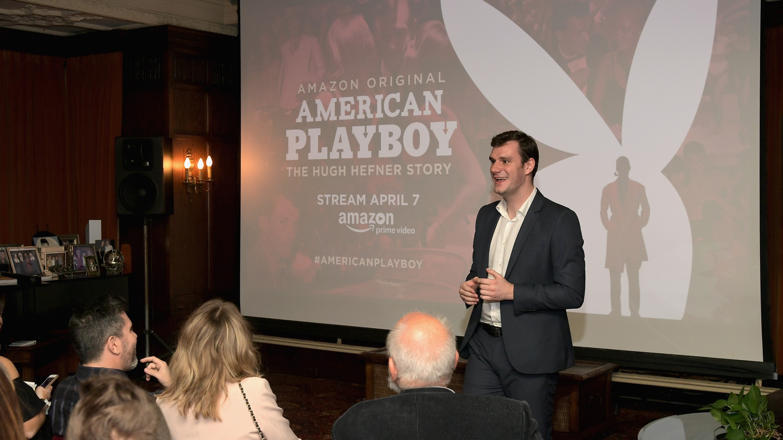"Cooper Hefner speaks during a premier event for the Amazon series ""American Playboy: The Hugh Hefner Story"" at The Playboy Mansion on April 4, 2017 in Los Angeles. (Charley Gallay/Getty Images for Amazon)"