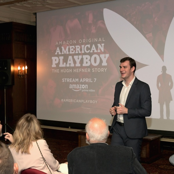 """Cooper Hefner speaks during a premier event for the Amazon series """"American Playboy: The Hugh Hefner Story"""" at The Playboy Mansion on April 4, 2017 in Los Angeles. (Charley Gallay/Getty Images for Amazon)"""