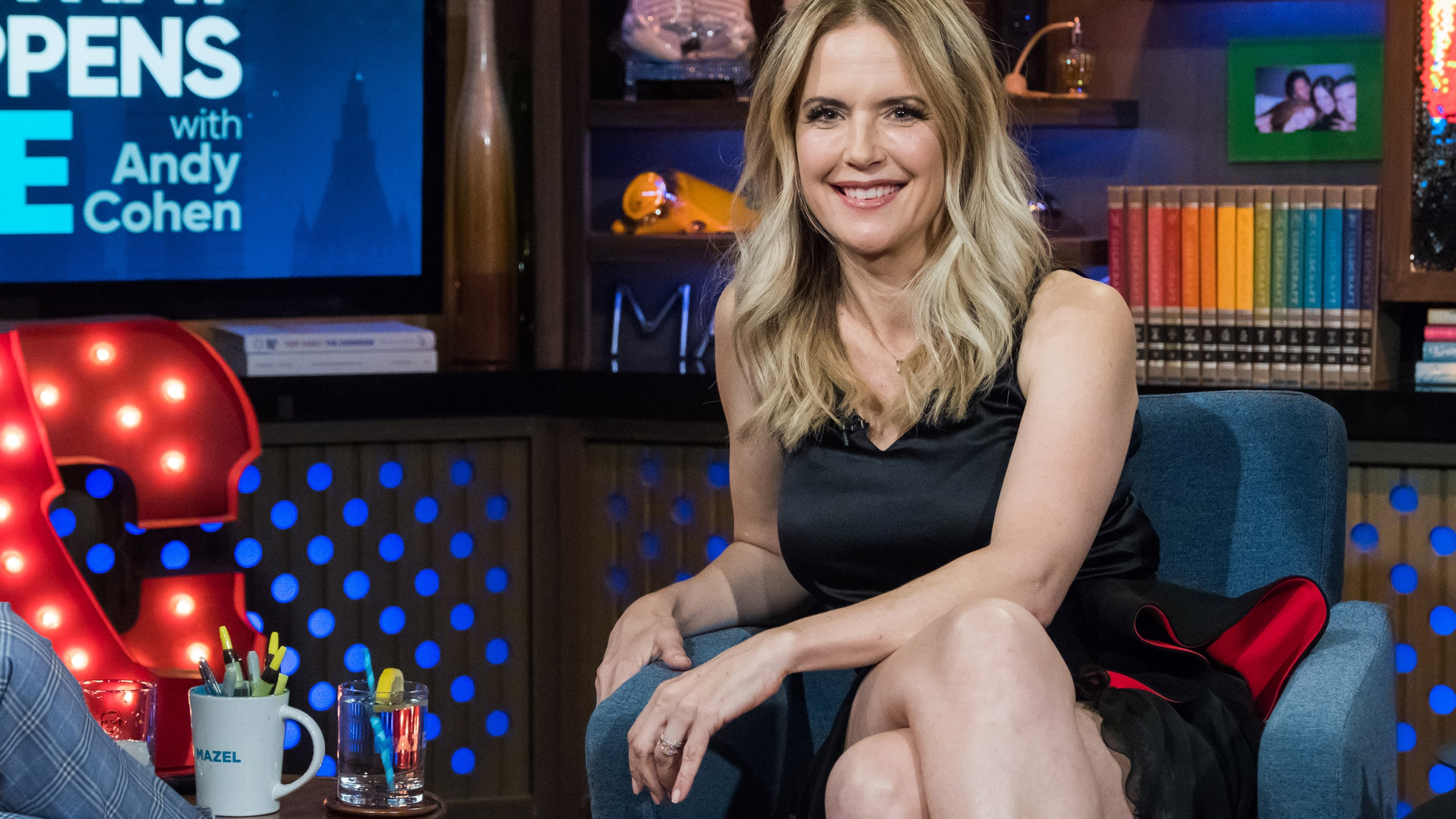 "Kelly Preston appears on the set of ""Watch What Happens Live."" (Charles Sykes/Bravo/NBCU Photo Bank/NBCUniversal via Getty Images)"