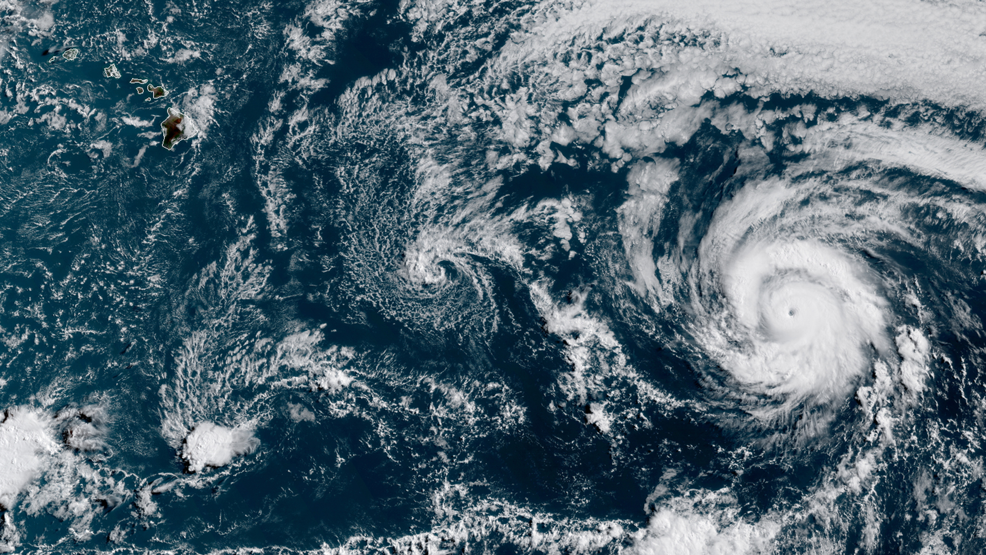 Satellite imagery shows Hurricane Douglas as a Category 3 storm southeast of Hawaii on June 23, 2020. (GOES-17/NOAA)