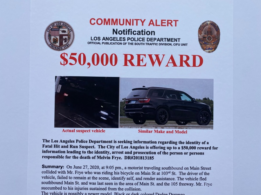 A Los Angeles Police Department crime bulletin shows the vehicle suspected in a deadly hit-and-run in South Los Angeles on June 27, 2020.