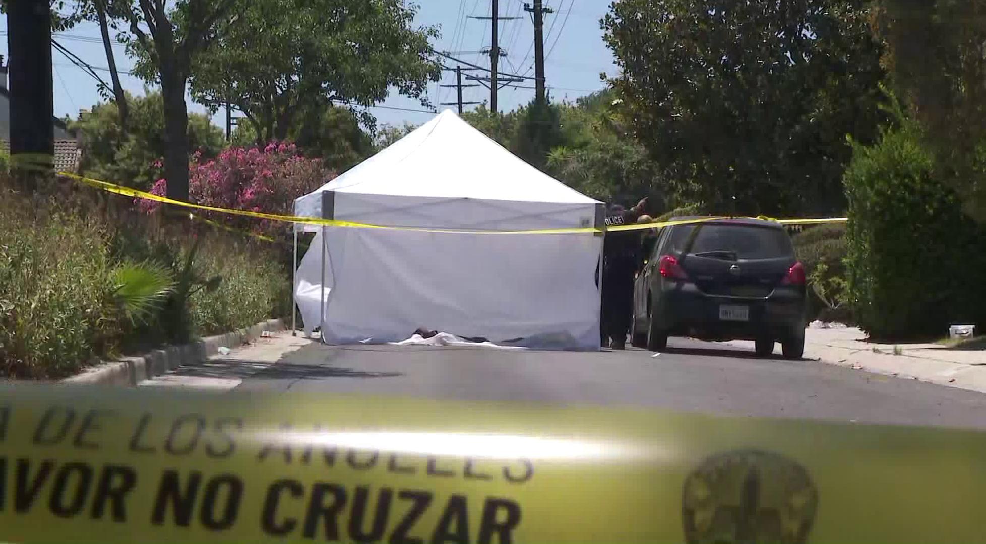 Police investigate the scene of a shooting in Mar Vista on July 15, 2020. (KTLA)