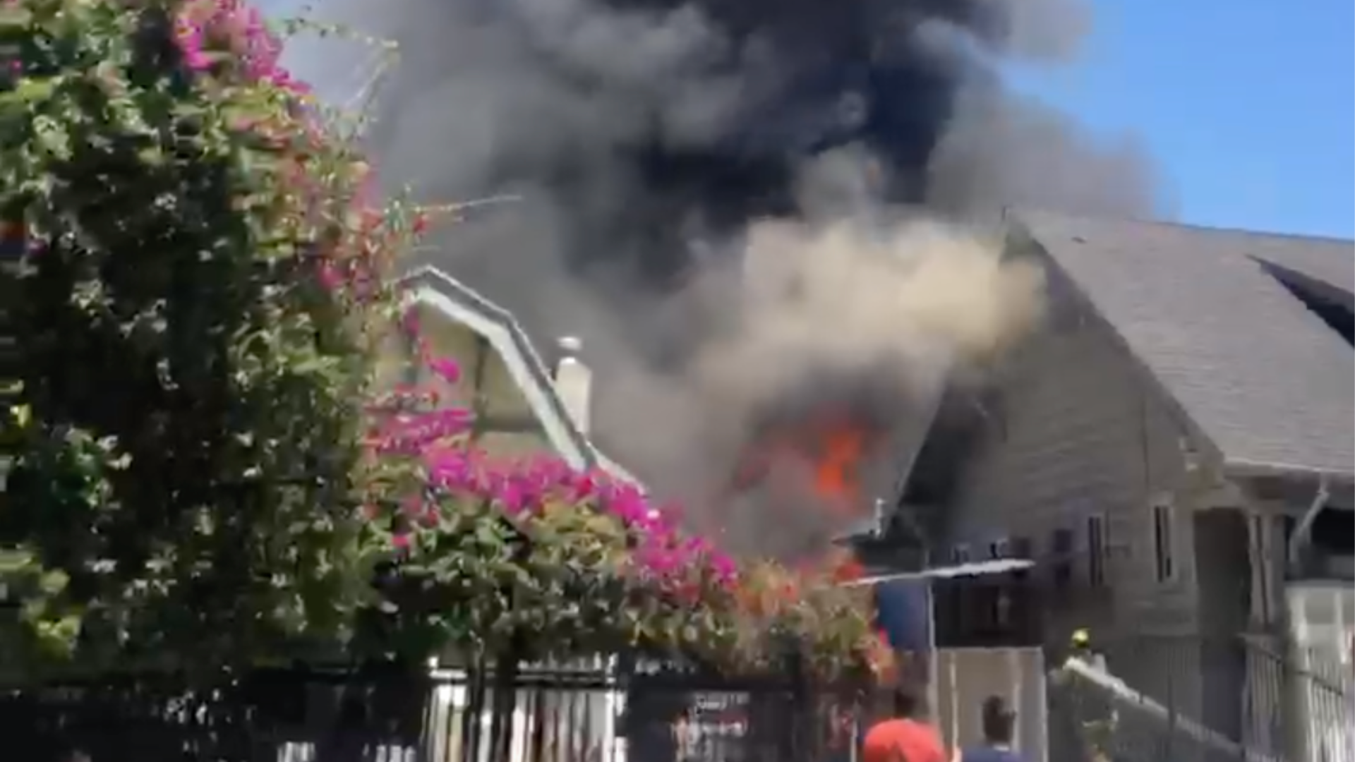 A fire burns in Koreatown on July 3, 2020. (Viewer video)