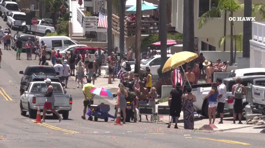 A Fourth of July block party held in San Clemente on July 4, 2020. (OC Hawk)